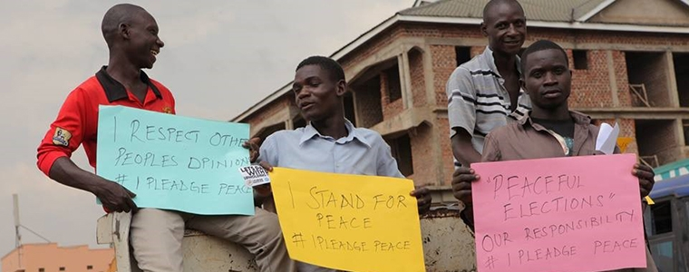 Ugandans appeal for a peaceful election campaign ahead of the country's Feb. 18 presidential balloting.