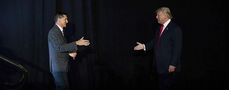 Lt. Gen. Michael Flynn introduces Donald Trump at a campaign event in Bedford, N.H., Sept. 29, 2016. Flynn -- Trump's pick for national security adviser -- had a brilliant military career, but turned out to be a catastrophic manager and is today regarded by foreign policy specialists from across the political spectrum as a kook, Nicholas Kristof writes. (Damon Winter/The New York Times)