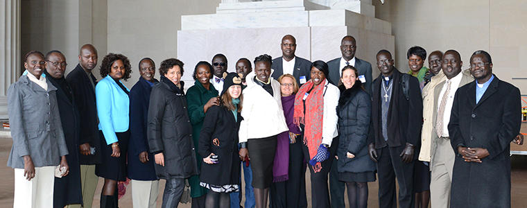 The South Sudanese joining in the USIP workshop also visited the nearby Lincoln Memorial.