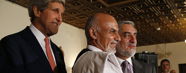 Secretary of State John Kerry announces a deal to audit ballots in the election between Ashraf Ghani, center, and Abdullah Abdullah, right, in Kabul, Afghanistan, July 12, 2014. Photo Credit: The New York Times/ Jim Bourg