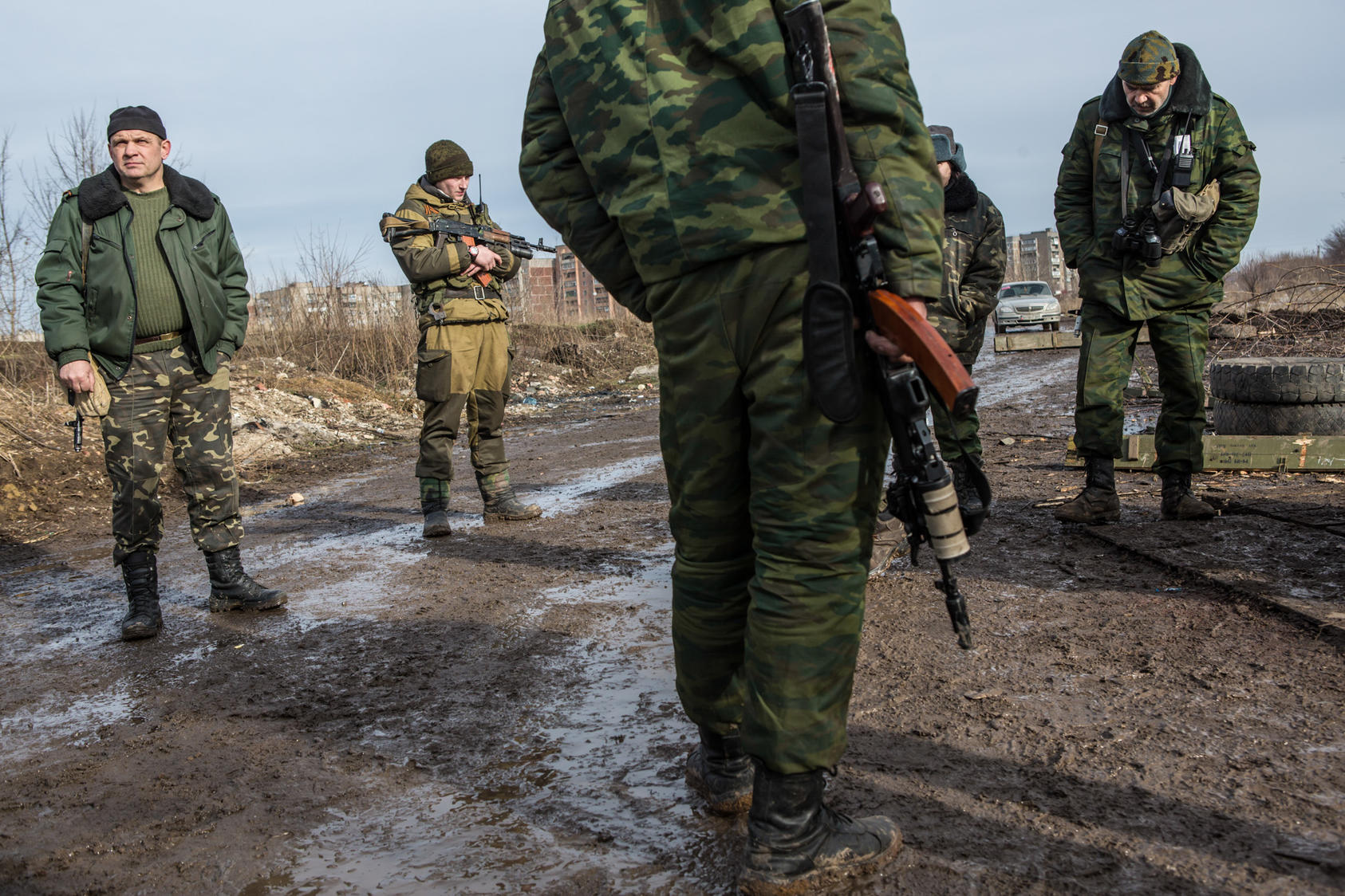 Pro-Russian rebel fighters at a front-line position in Gorlovka, Ukraine, Jan. 31, 2015. Pro-Russian rebels recently captured the airport in Donetsk, kicking off the fiercest round of combat in the region since last fall, and their mood on the front lines is upbeat these days.