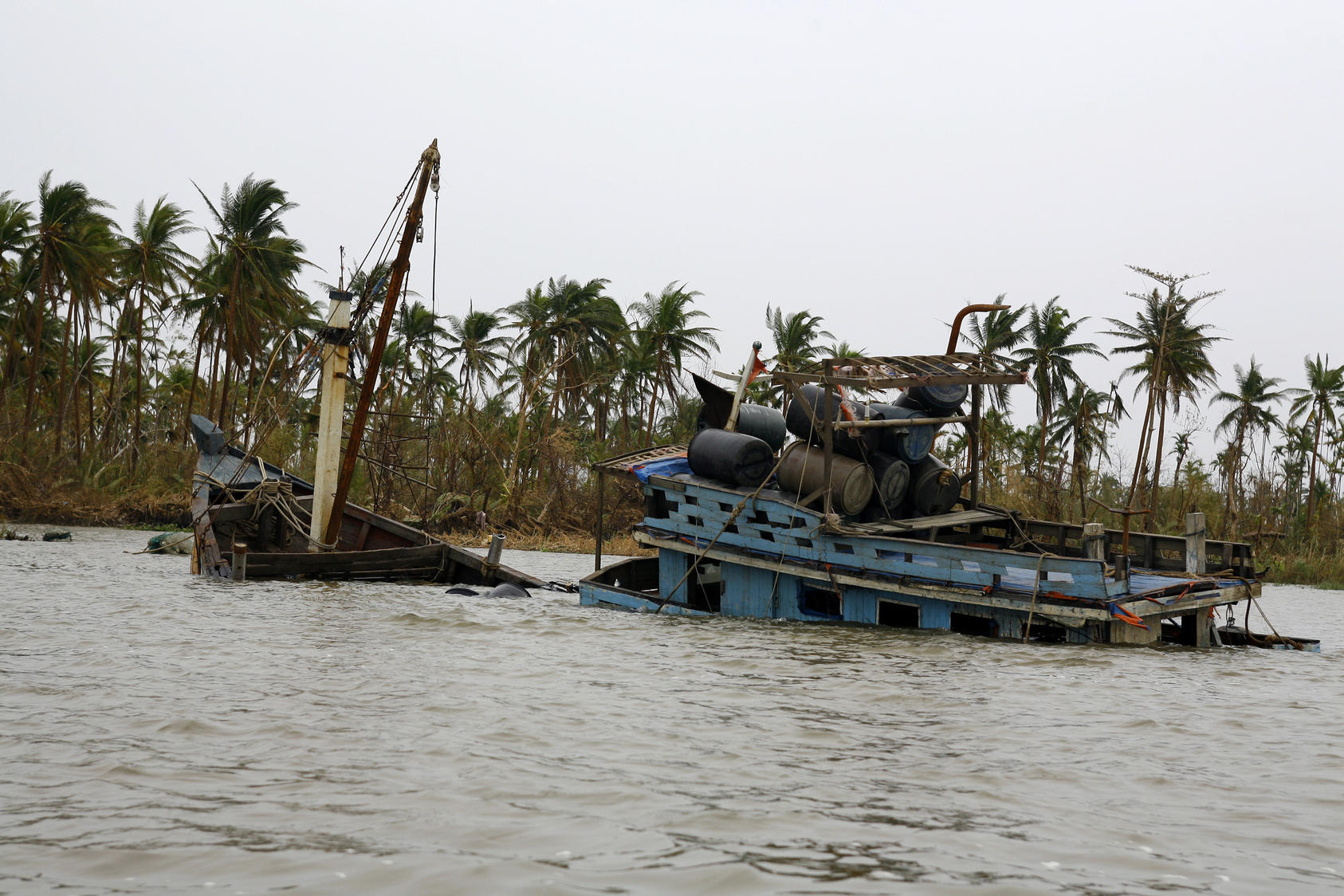 A sunk ferry near Pyapon, Myanmar