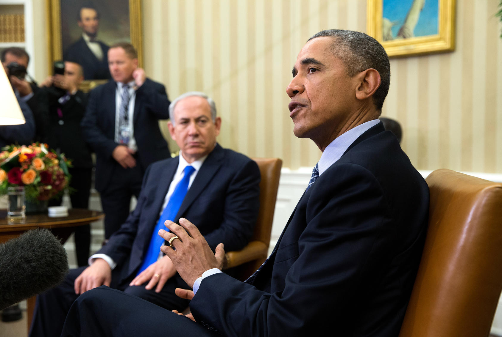 President Barack Obama speaks to reporters as Israeli Prime Minister Benjamin Netanyahu looks on during a bilateral meeting in the Oval Office of the White House, in Washington, Nov. 9, 2015. After months of long-distance jousting over the Iran nuclear deal, Obama and Netanyahu met Monday for the first time in more than a year to try and put their feuding behind them