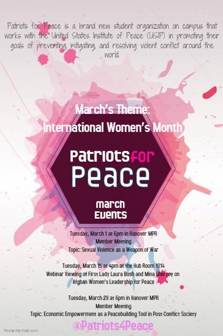 Patriots for Peace March events flyer