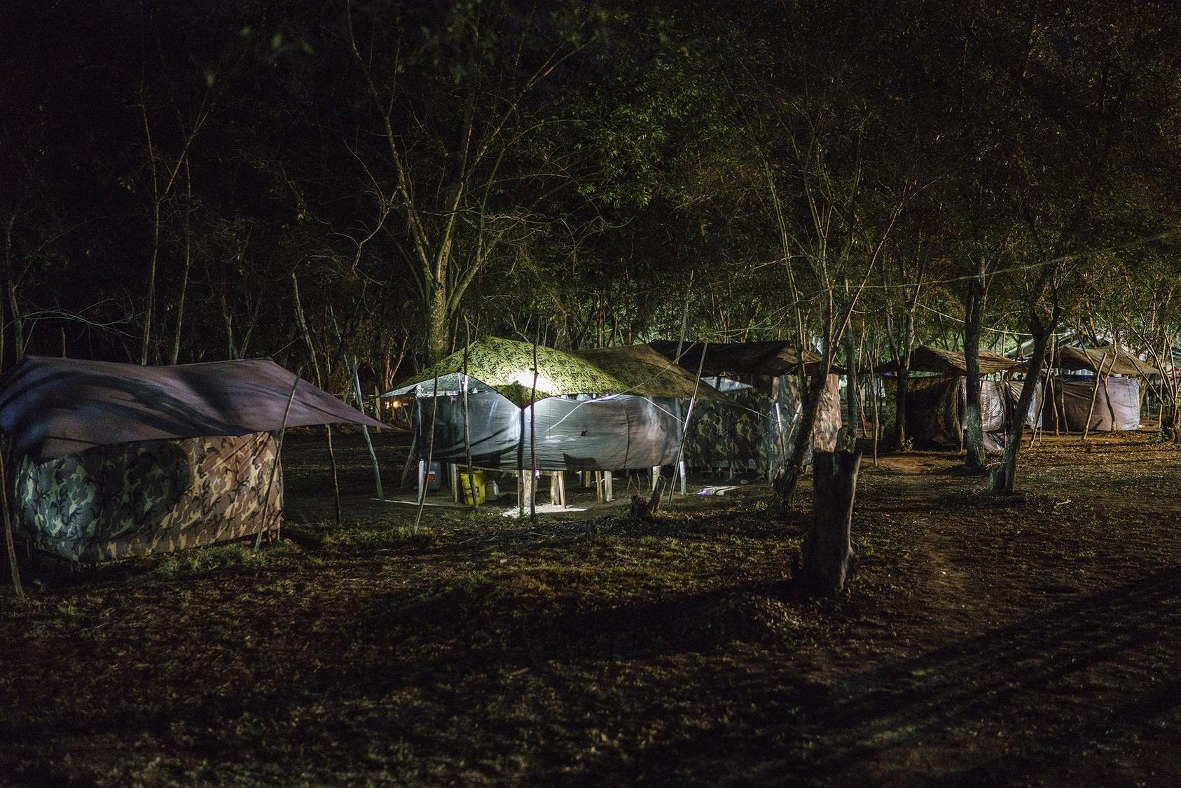 Tents in one of the zones set up to transition the former FARC rebels back to civilian life near La Paz, Colombia