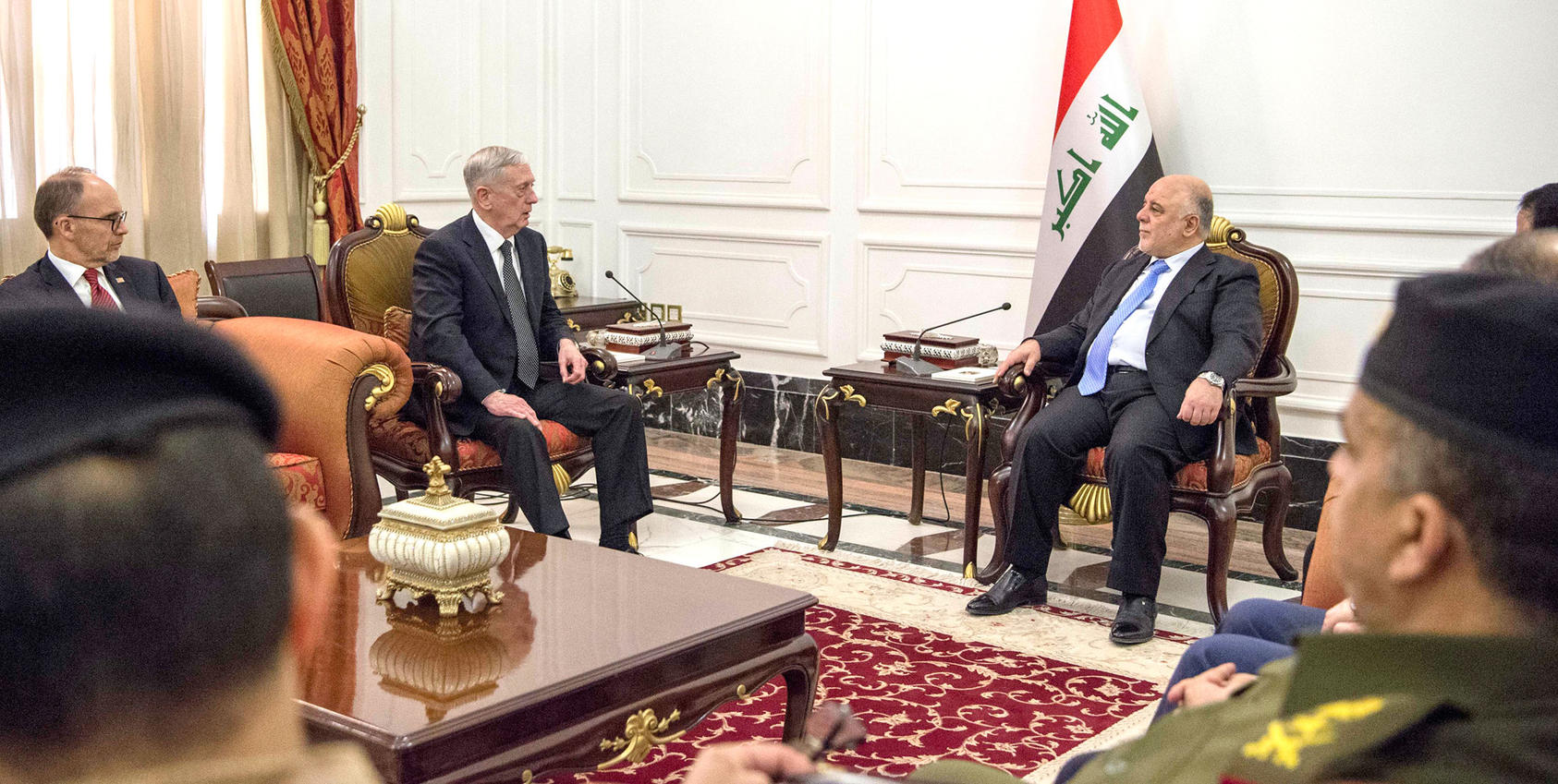 Secretary of Defense Jim Mattis meets with Iraqi Prime Minister Haider al-Abadi in Baghdad, Iraq, Feb. 20, 2017. (DOD photo by U.S. Air Force Tech. Sgt. Brigitte N. Brantley)