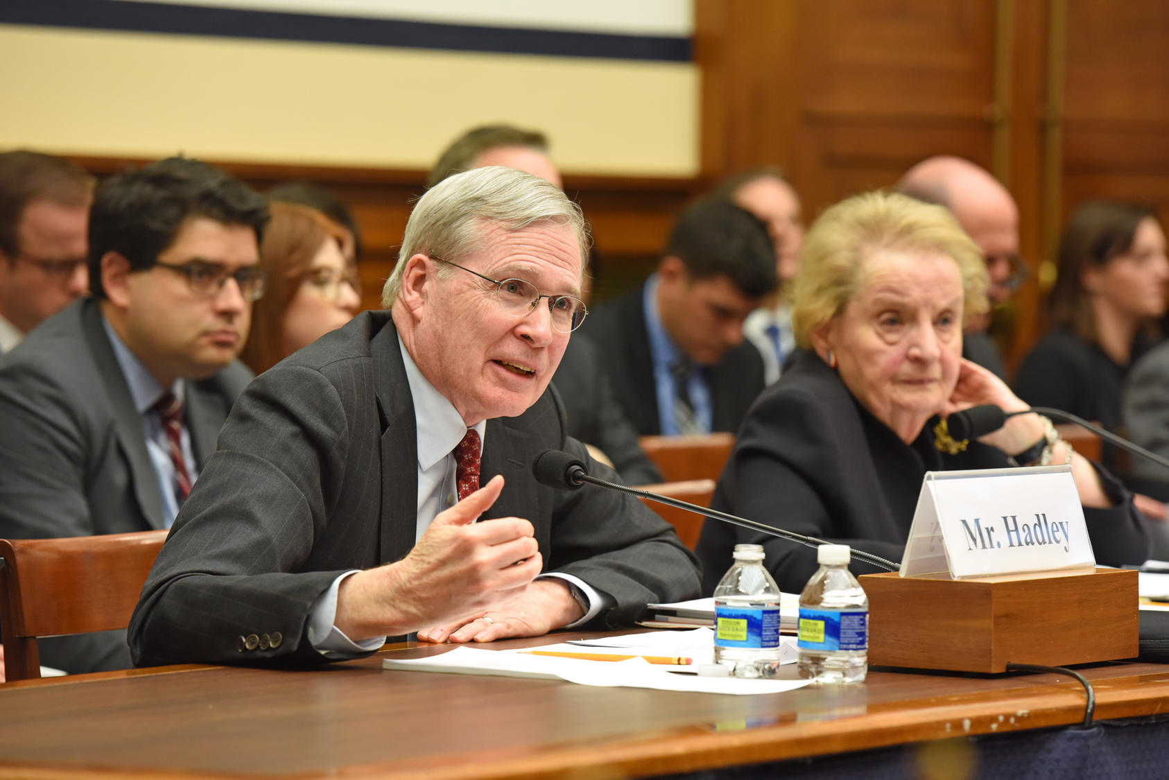 Stephen J. Hadley and Madeline Albright giving testimony