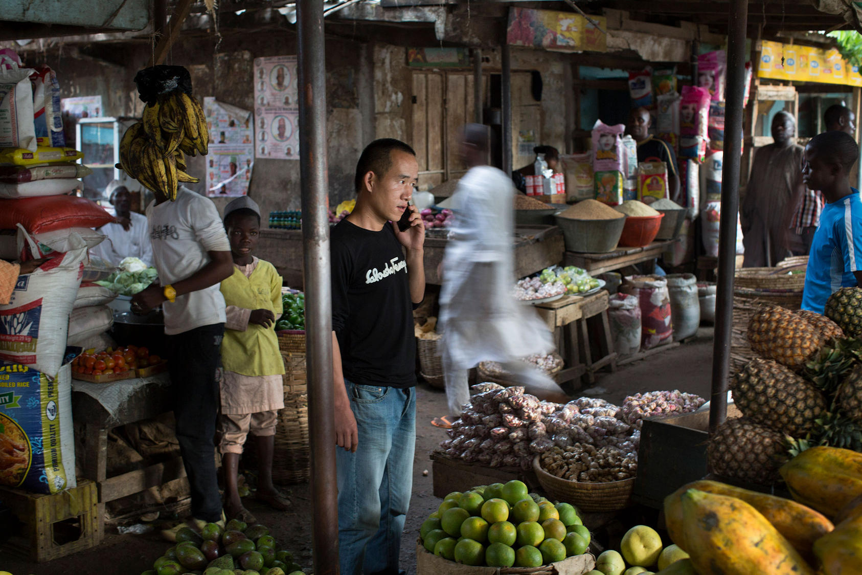 A local market frequented by Chinese customers in Kano, Nigeria, August 2015. Chinese goods are everywhere in Nigeria.