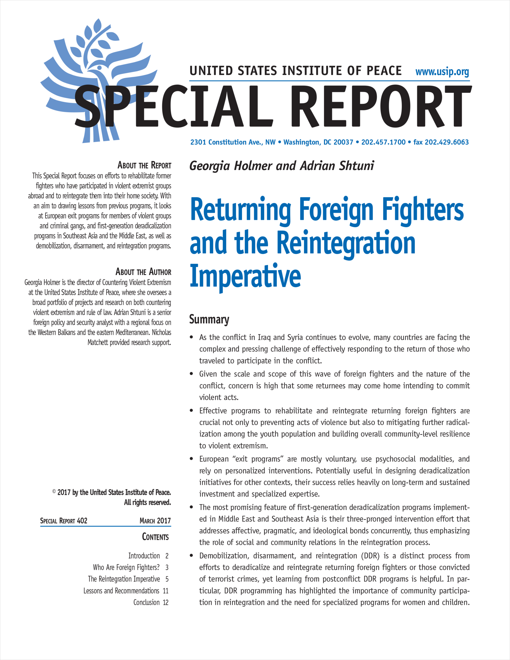 returning foreign fighters and the reintegration imperative united
