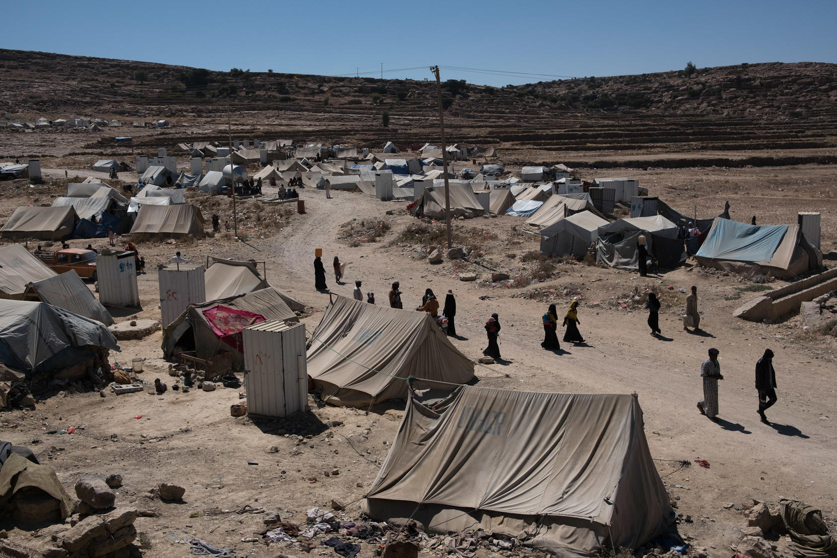 A camp of displaced Yemenis in the town of Khamer, Yemen