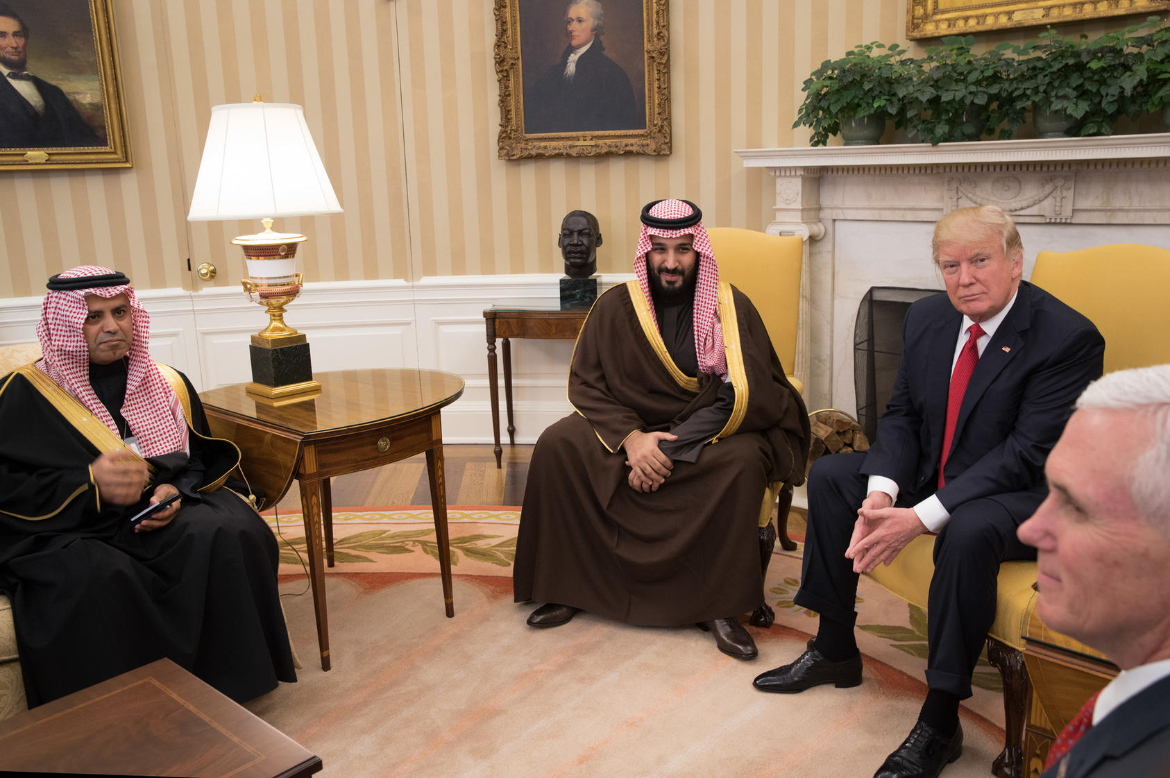 President Donald Trump meets with Saudi Deputy Crown Prince Mohammed bin Salman, who is King Salman's son and the defense minister, in the Oval Office of the White House in Washington, March 14, 2017. Photo Courtesy of The New York Times/Stephen Crowley