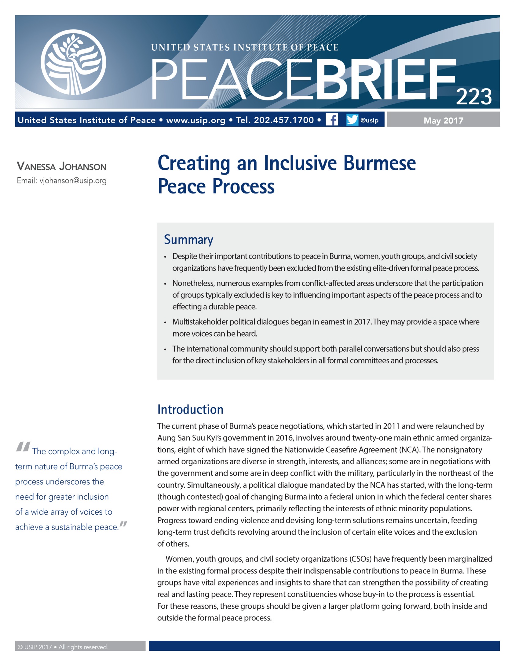Creating An Inclusive Burmese Peace Process United States