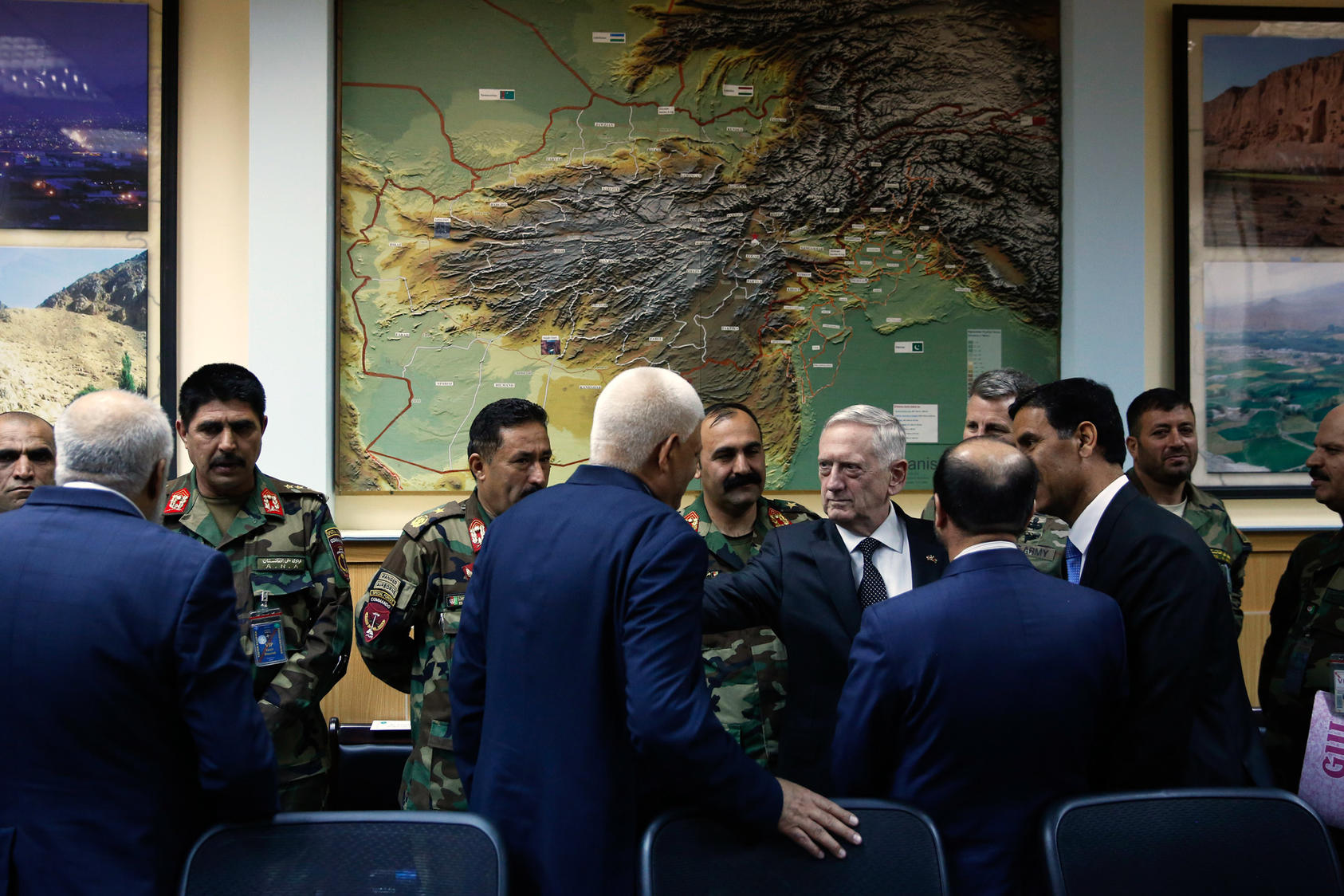 U.S. Defense Secretary James Mattis, center, meets with Afghan military leaders in Kabul, Afghanistan, April 24, 2017. As President Donald Trump decides whether to send thousands more troops to Afghanistan, his administration is divided along familiar fault lines, pitting two generals, Mattis and Lt. Gen. H.R. McMaster, against political aides. (Johnathan Ernst/Pool via The New York Times)