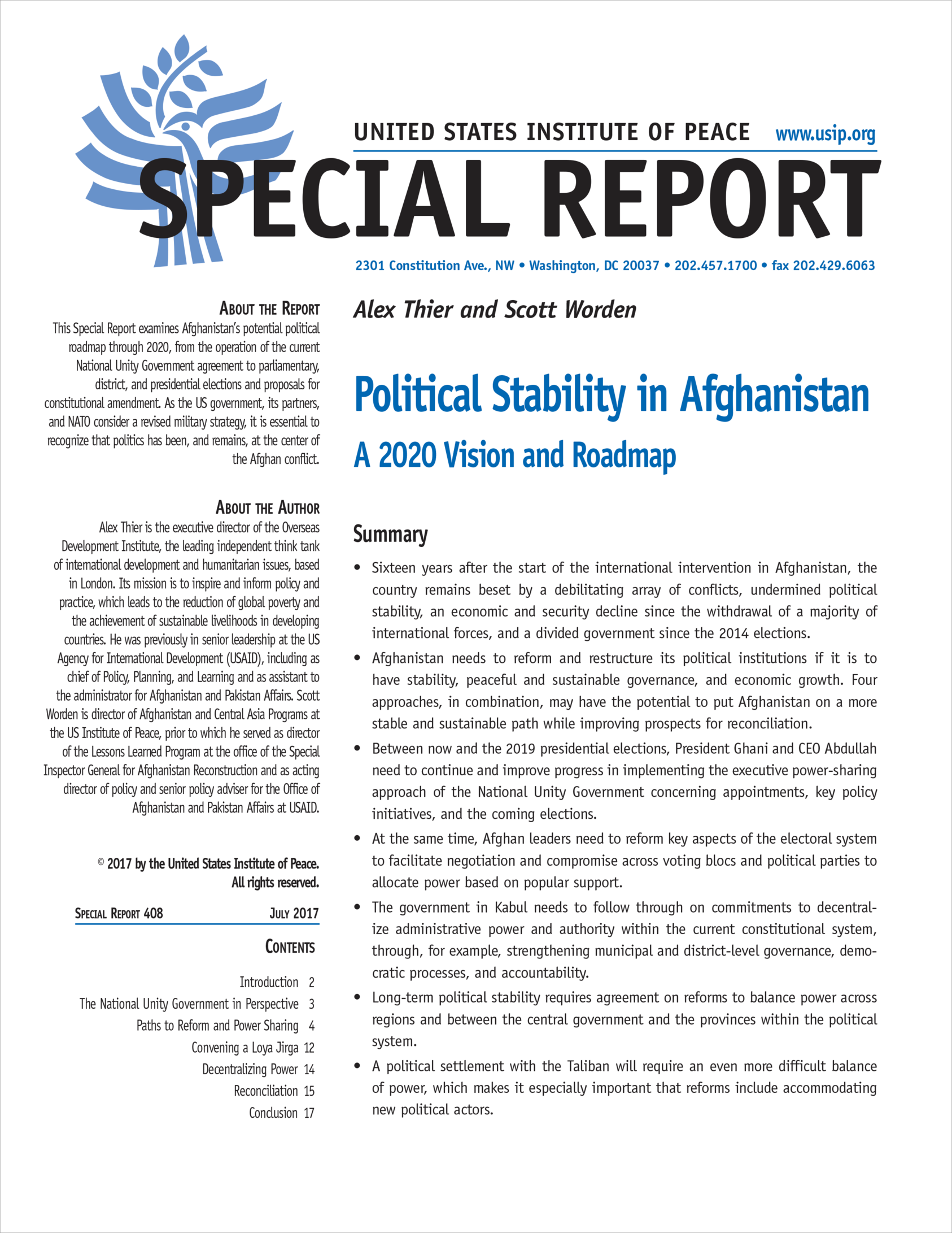 Political Stability In Afghanistan A Vision And Roadmap - Us roadmap
