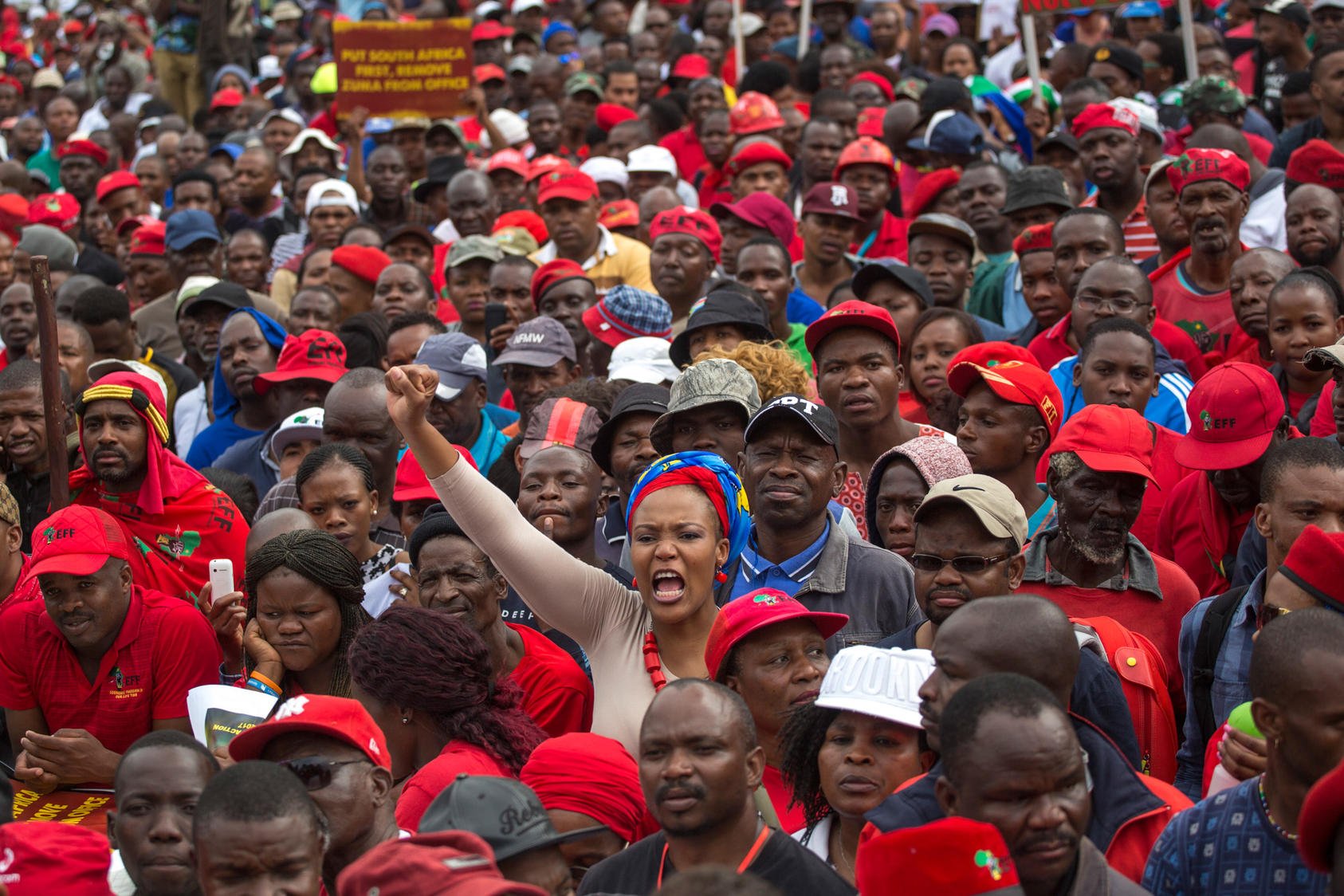 In one of South Africa's largest protests in years, tens of thousands rallied against Zuma, spurred by the firing of a popular finance minister who was held as a bulwark against corruption and cronyism, April 12, 2017. Photo Courtesy of NYT/Joao Silva