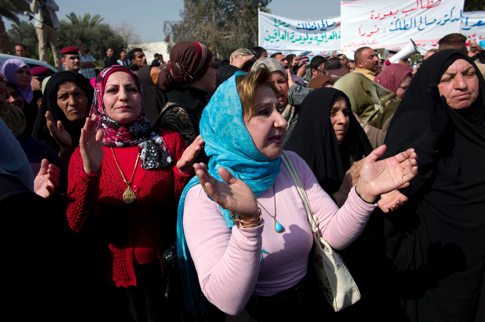 A group of women rally in Iraq