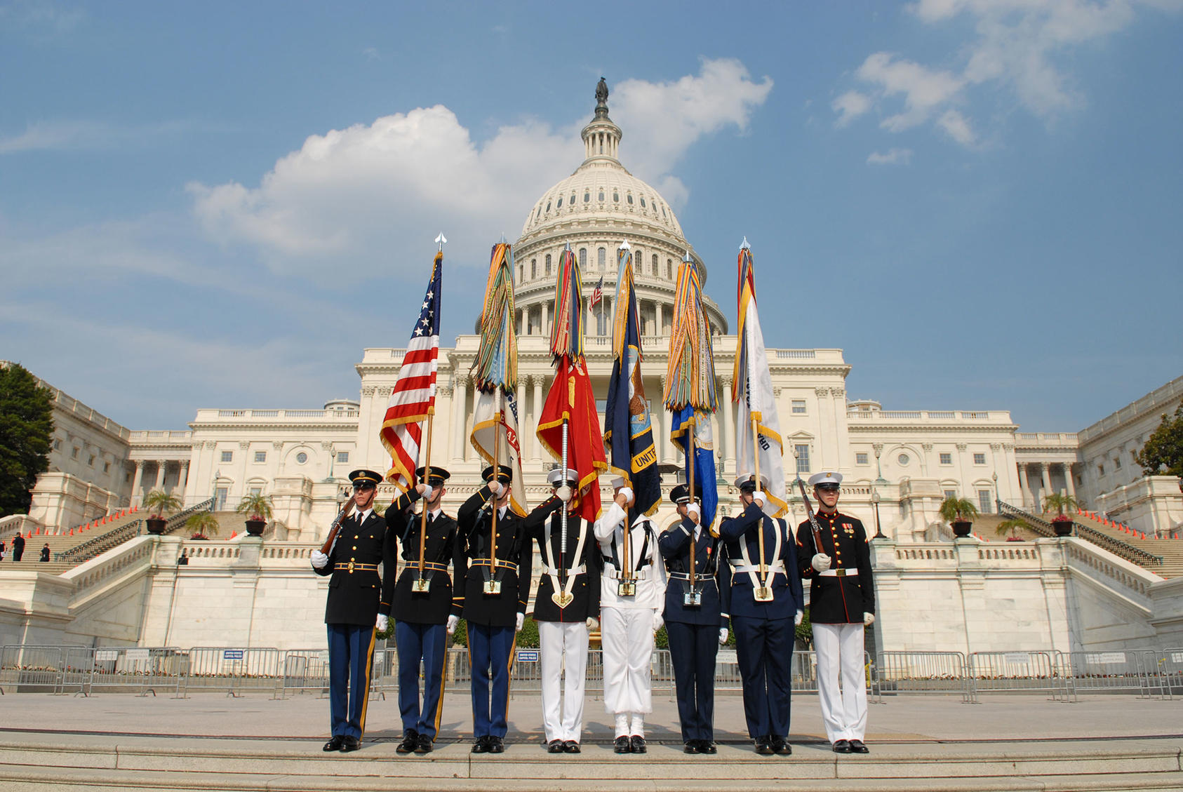 color guard in front of the capital
