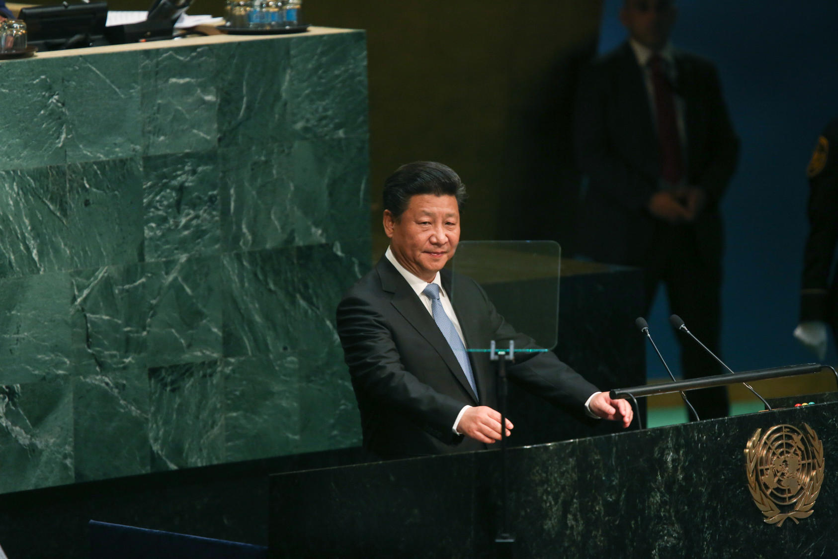 Chinese President Xi Jinping addresses the United Nations General Assembly on its opening day, Sept. 28, 2015.