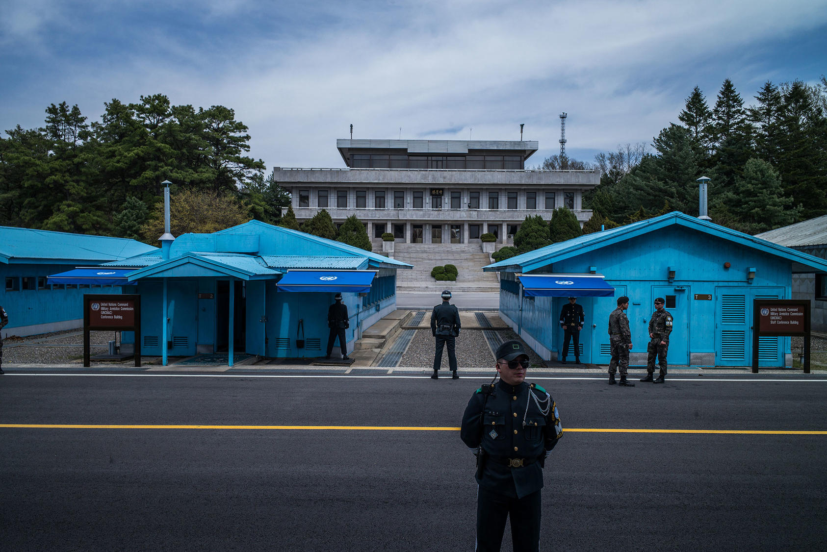 The border between the two Koreas in the truce village of Panmunjom in the Demilitarized Zone