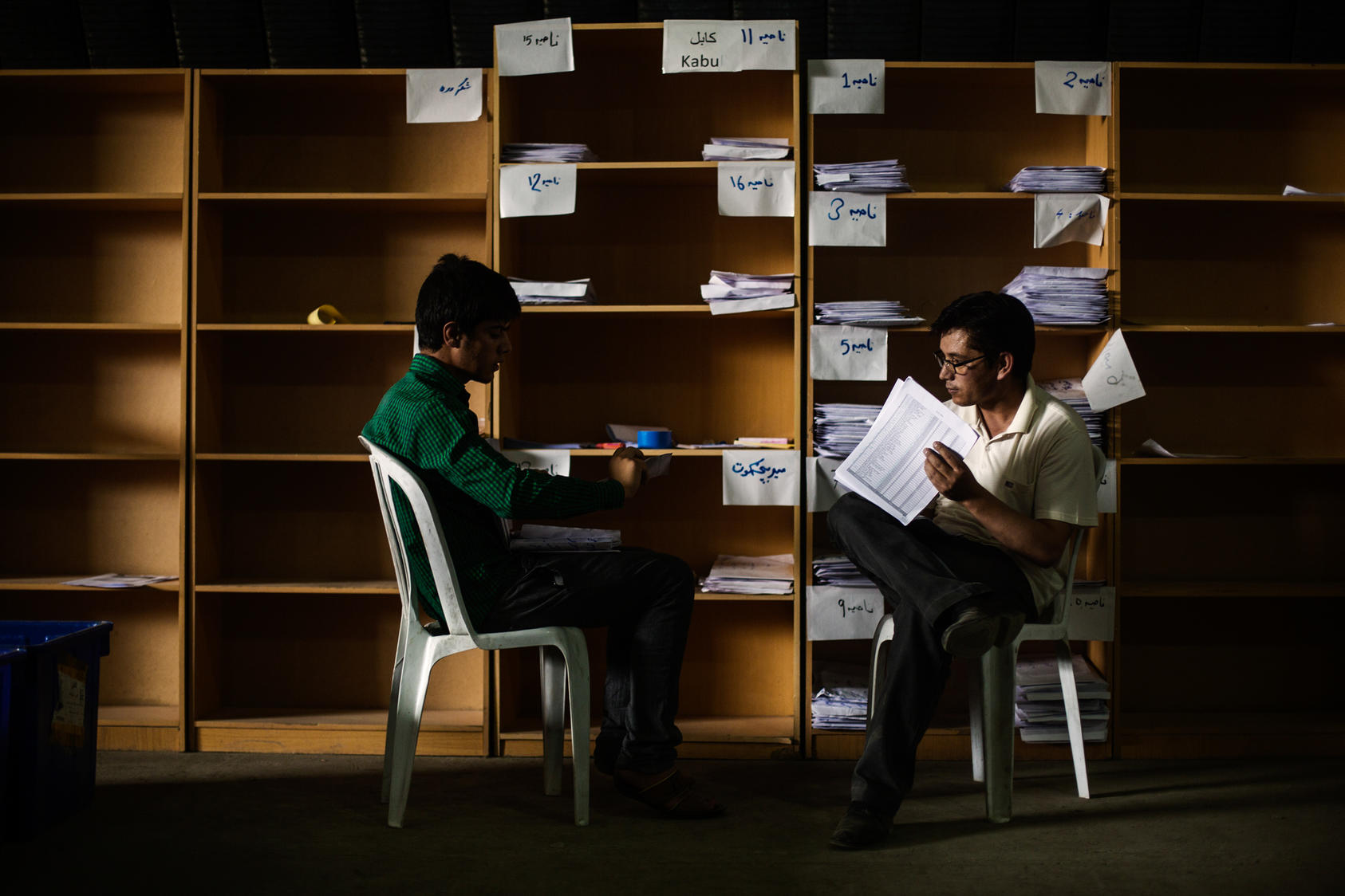 Independent Election Commission workers audit ballots from the disputed presidential runoff, in Kabul, Afghanistan, July 17, 2014. United Nations officials and international diplomats are monitoring the process, as well as representatives of the two candidates, Ashraf Ghani and Abdullah Abdullah. (Diego Ibarra Sanchez/The New York Times)