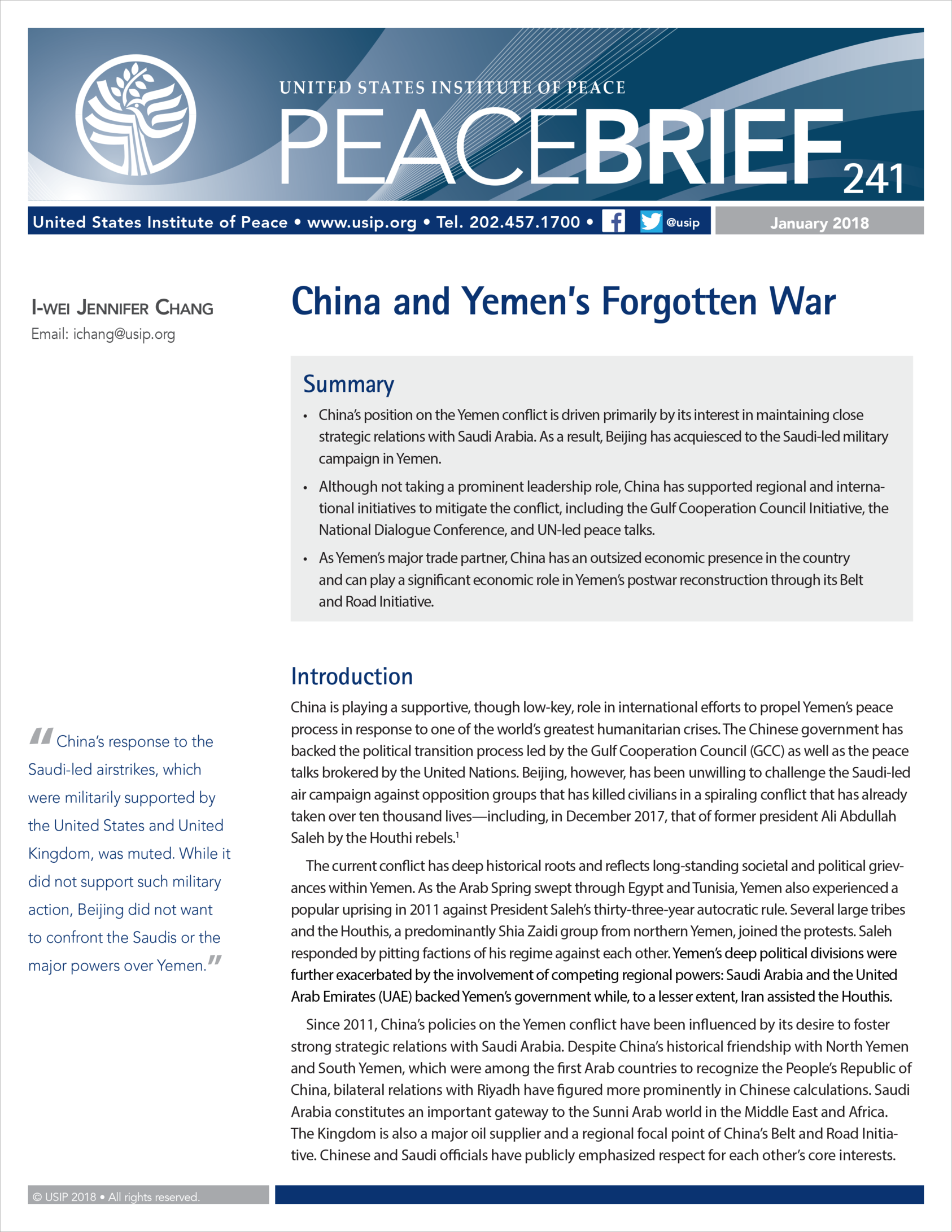 China and Yemen's Forgotten War | United States Institute of