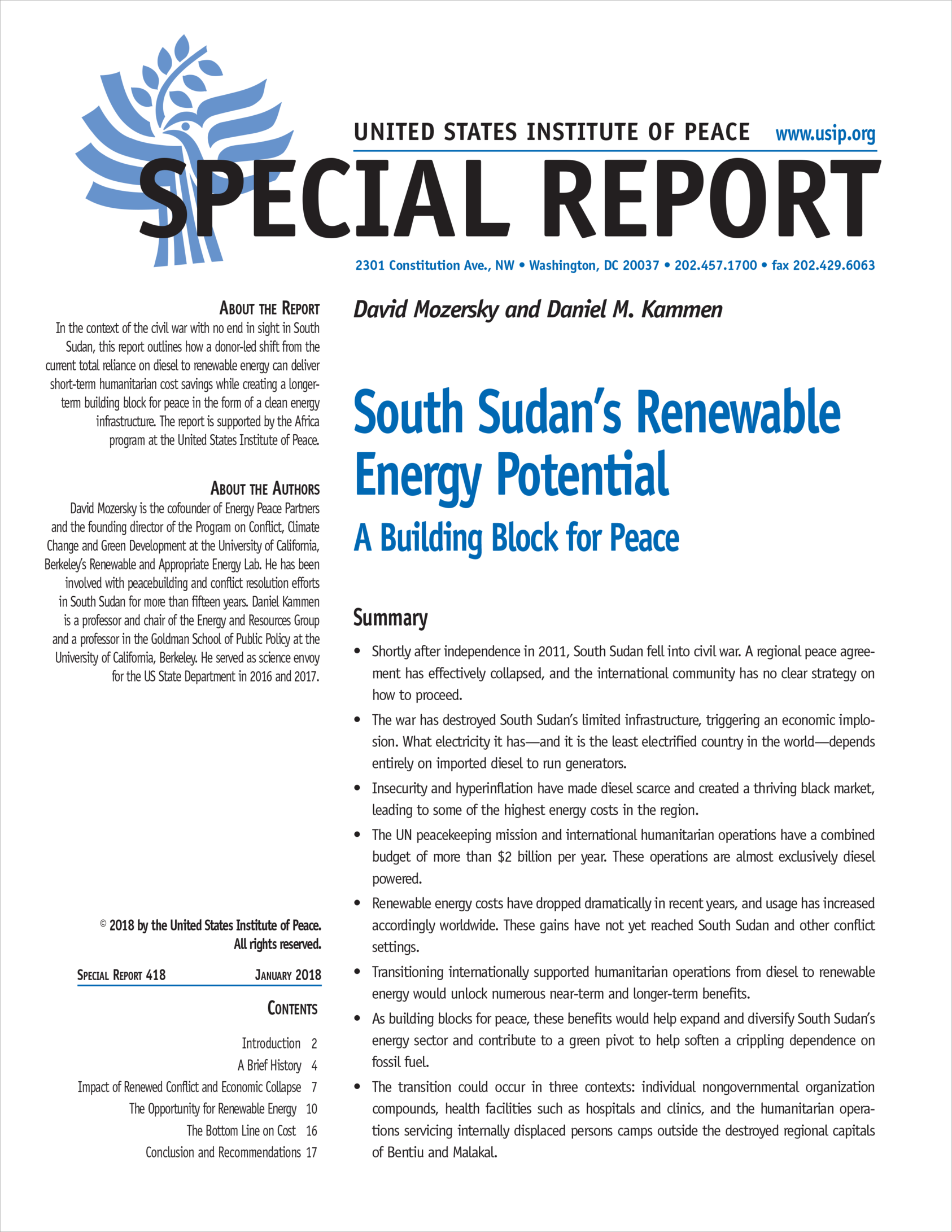 South Sudan's Renewable Energy Potential   United States Institute