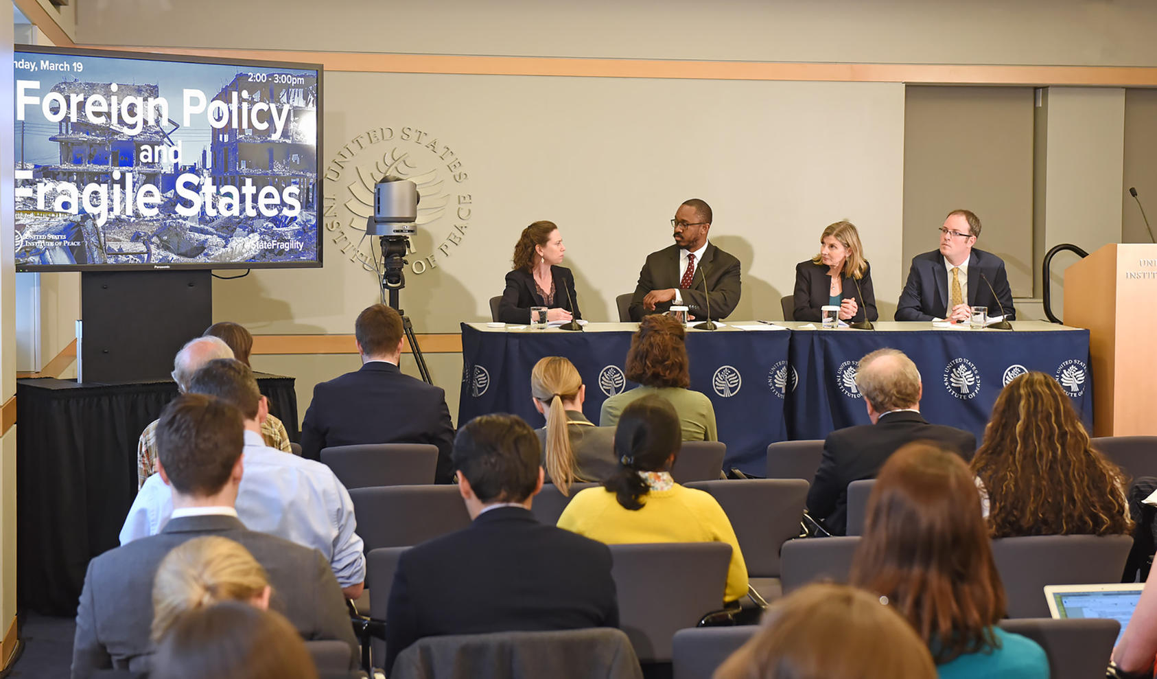Pictured from left to right, Kimberly Kagan, Joshua Johnson, Nancy Lindborg, Ilan Goldenberg