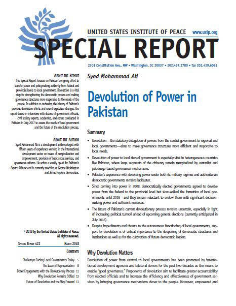 Devolution Of Power In Pakistan United States Institute Of Peace