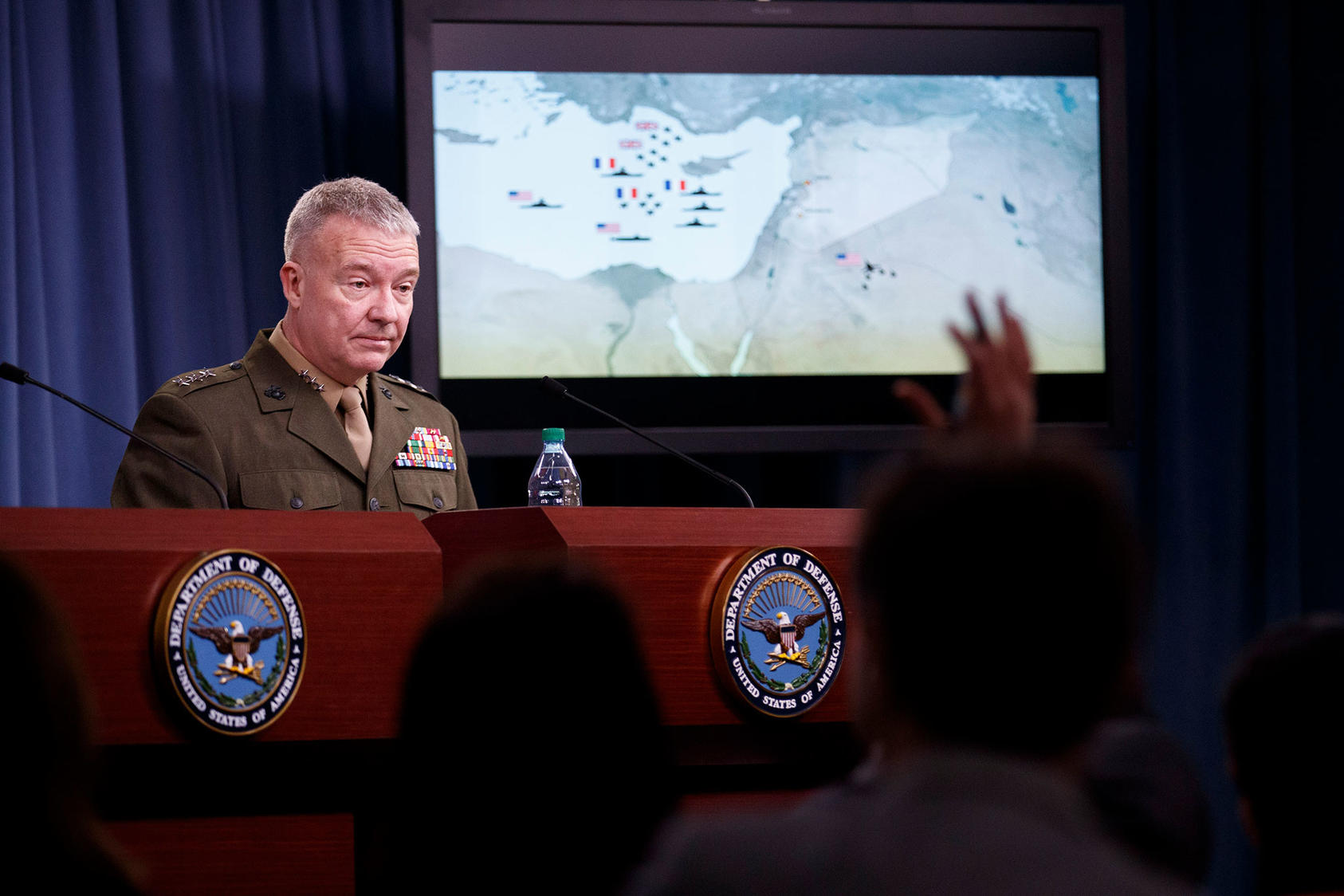 Lt. Gen. Kenneth McKenzie Jr., Director of the Joint Staff, holds a news conference at the Pentagon in Virginia, April 14, 2018.