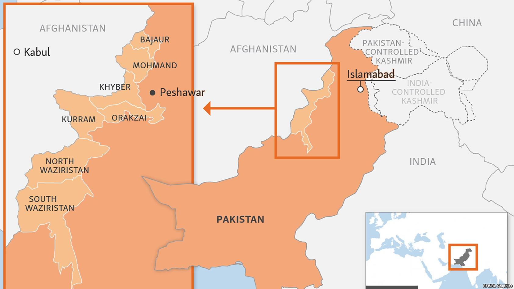 "A map of Pakistan's FATA region (in light orange) comprises eight tribal ""agencies,"" or districts, on the border with Afghanistan. FATA has long been a haven for Taliban and al-Qaeda militants who conduct attacks in Pakistan and Afghanistan. (RFE-RL)"