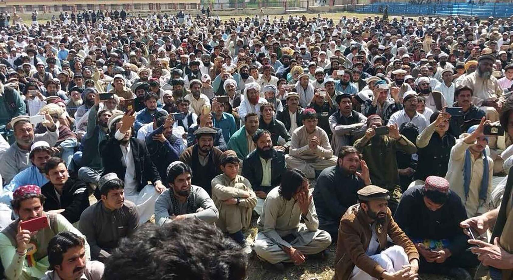 In March, hundreds of Pashtun men attended a protest at the North Waziristan town of Mir Ali, one of dozens of rallies since January. (RFE-RL)
