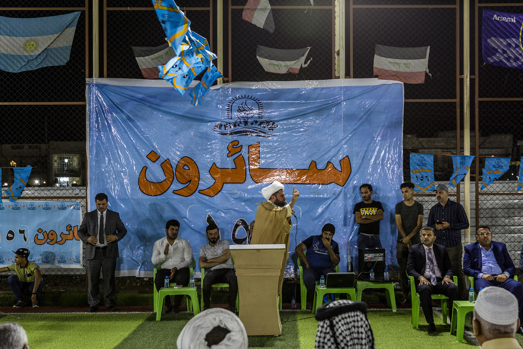 A cleric speaks at a rally for the Sairoon alliance led by the Shiite cleric Muktada al-Sadr in Baghdad, May 9, 2018. (Ivor Prickett/The New York Times)