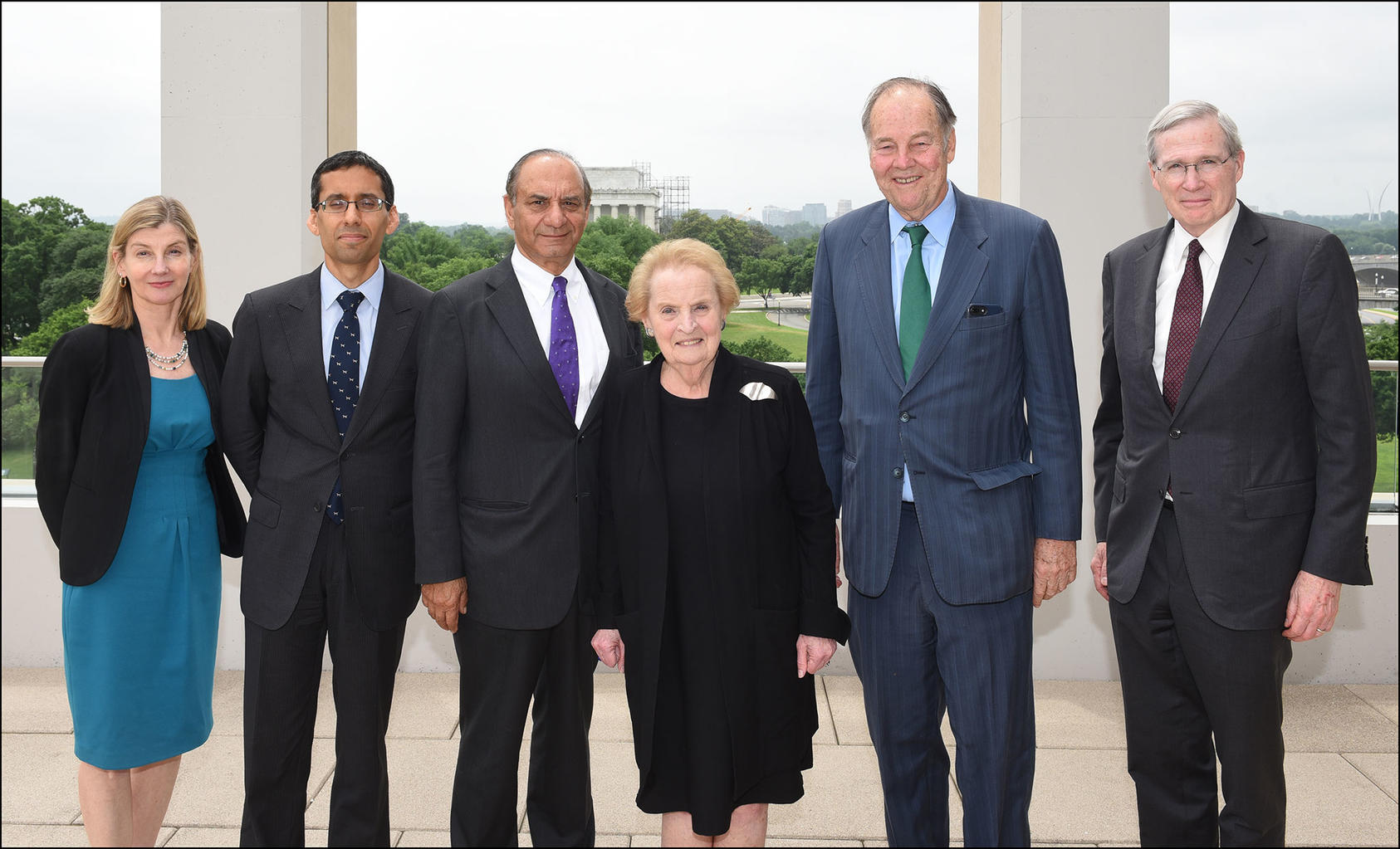 Pictured left to right, Nancy Lindborg, Michael Singh, Farooq Kathwari, Madeleine Albright, Governor Thomas Kean, Stephen Hadley