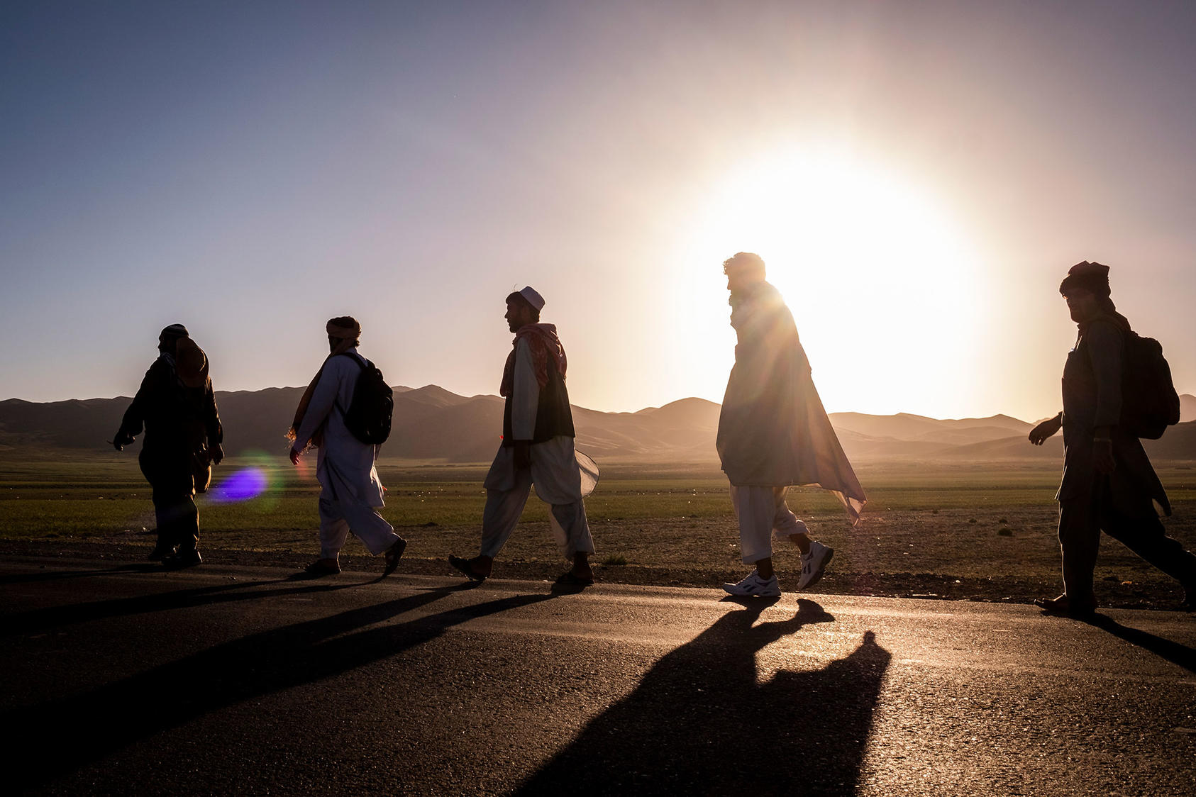 Members of a peace march walking to Wardak, Afghanistan, from Ghazni
