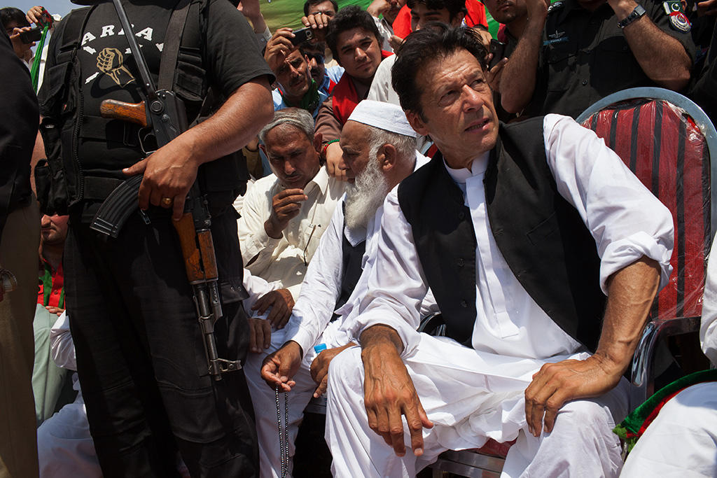 Former cricket star Imran Khan, a candidate in Pakistan's parliamentary elections, during a campaign rally in the Swabi District of Pakistan, May 4, 2013. Khan was seriously injured when he tumbled from a mechanical lift at an election rally on May 7. The vote on May 11th will be the first time a democratically elected civilian government completes its term and hands over power to another. (Tyler Hicks/The New York Times)