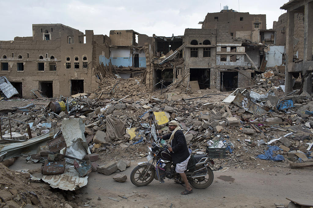 The northern city of Saada, a stronghold of the Houthi rebel militia, damaged from intense bombardment. (Tyler Hicks/The New York Times)