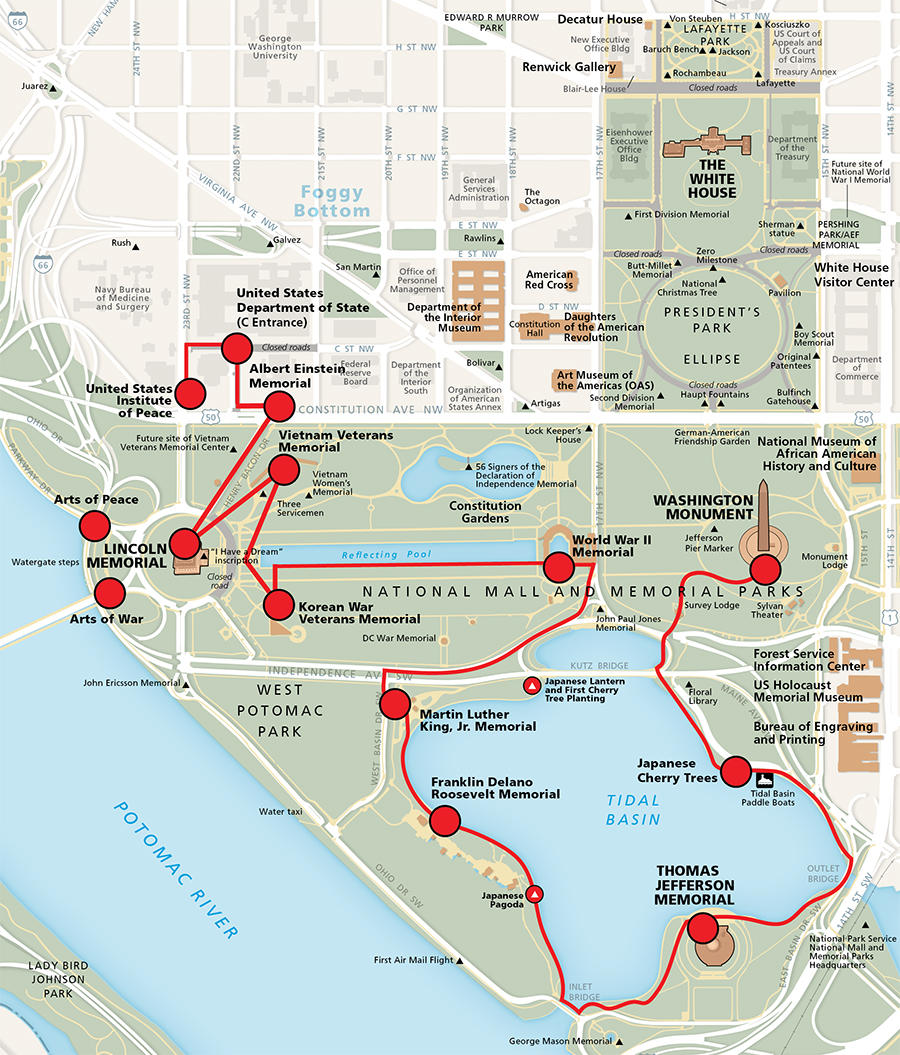 national mall peace trail map