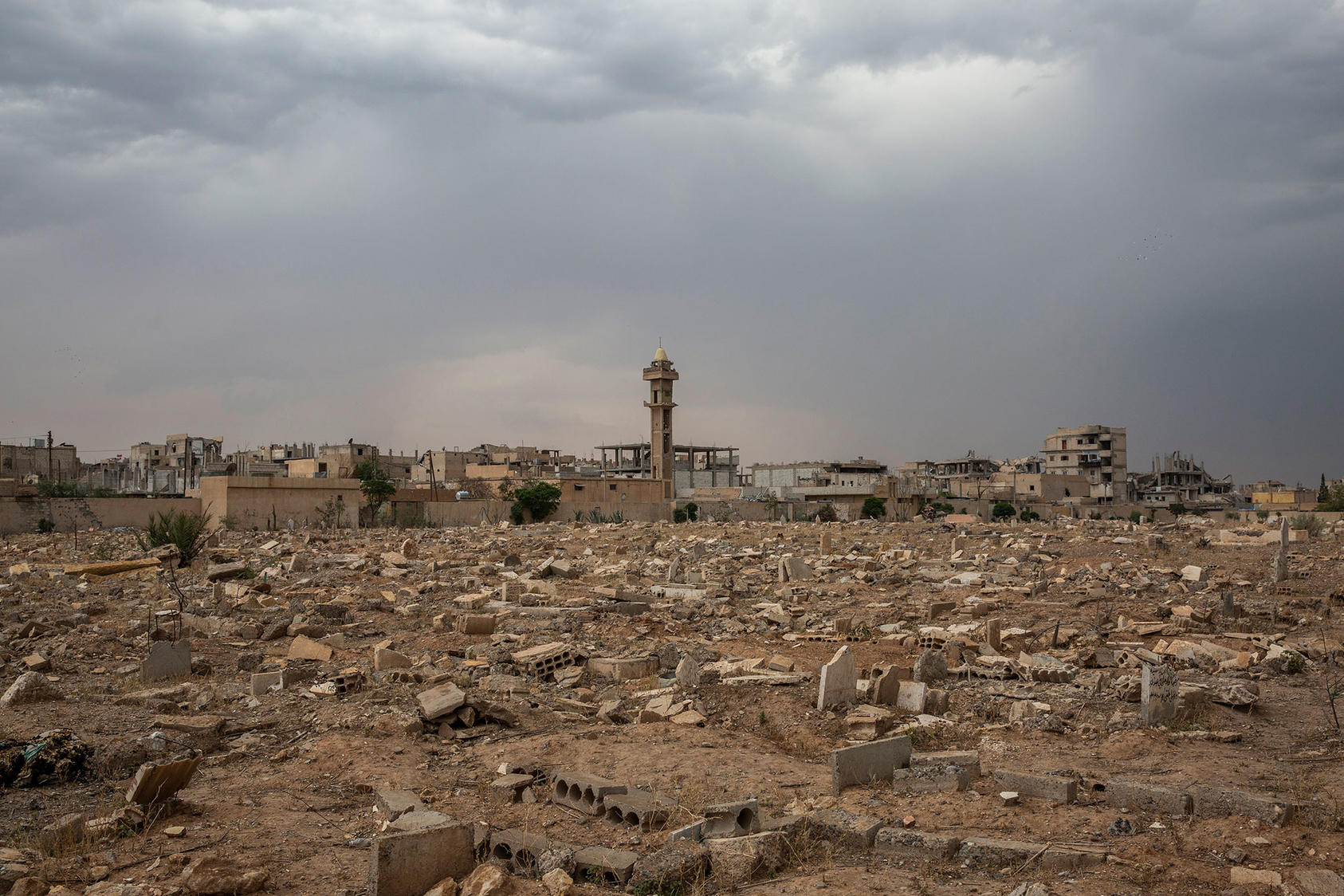 Raqqa's main cemetery, after Islamic State members desecrated the graveyard, in Syria, June 13, 2018. (Ivor Prickett/The New York Times)
