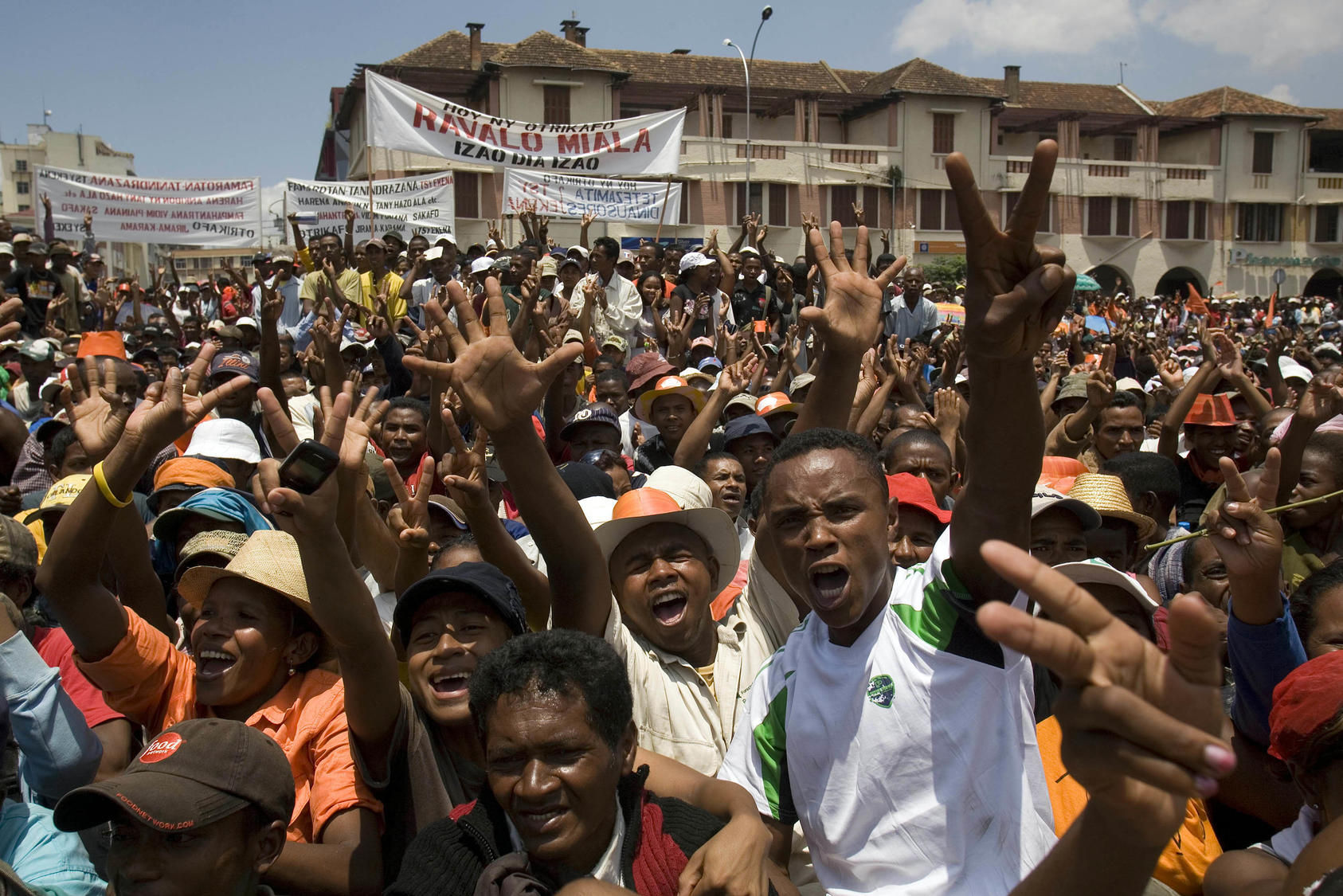 Opposition supporters chanted during a protest against the regime in Antananarivo, Madagascar on Saturday, Jan. 31, 2009. As of Saturday, this exotic island, home to 300 species of frogs, 75 species of chameleons and three dozen species of lemurs, also has two species of politicians claiming to run the country.