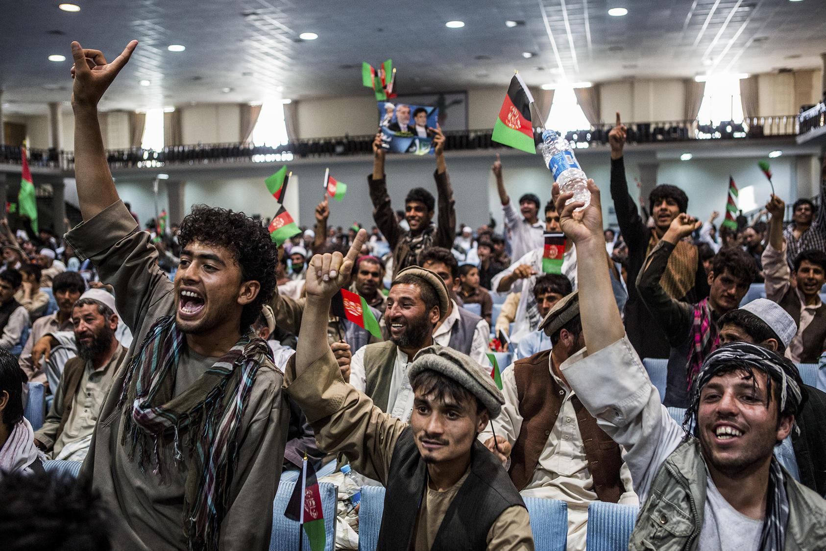 Afghans attend a campaign rally in Kabul, Afghanistan. (Bryan Denton/The New York Times)