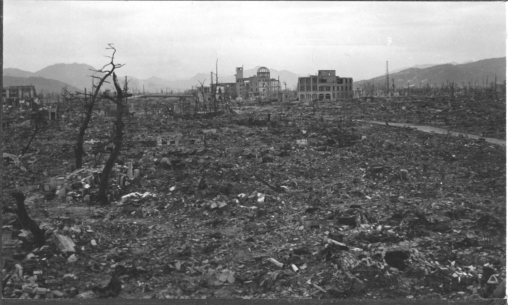 The center of Hiroshima as Navy Lieutenant Mark Hatfield saw it soon after the atomic bombing. (U.S. National Archives)