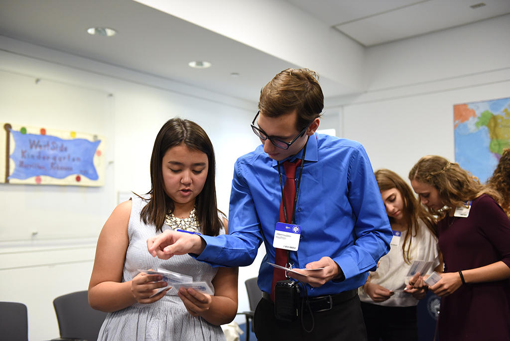 Students engaging in a workshop during their visit to the U.S. Institute of Peace.