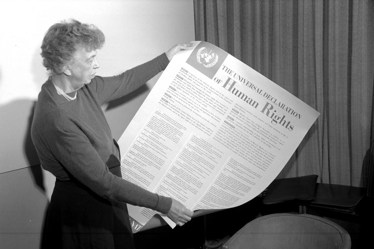 Eleanor Roosevelt holding Universal Declaration of Human Rights