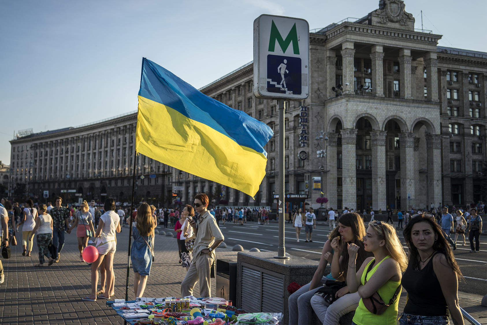 A Ukrainian flag flies in downtown Kiev, June 28, 2017. (Brendan Hoffman/The New York Times)