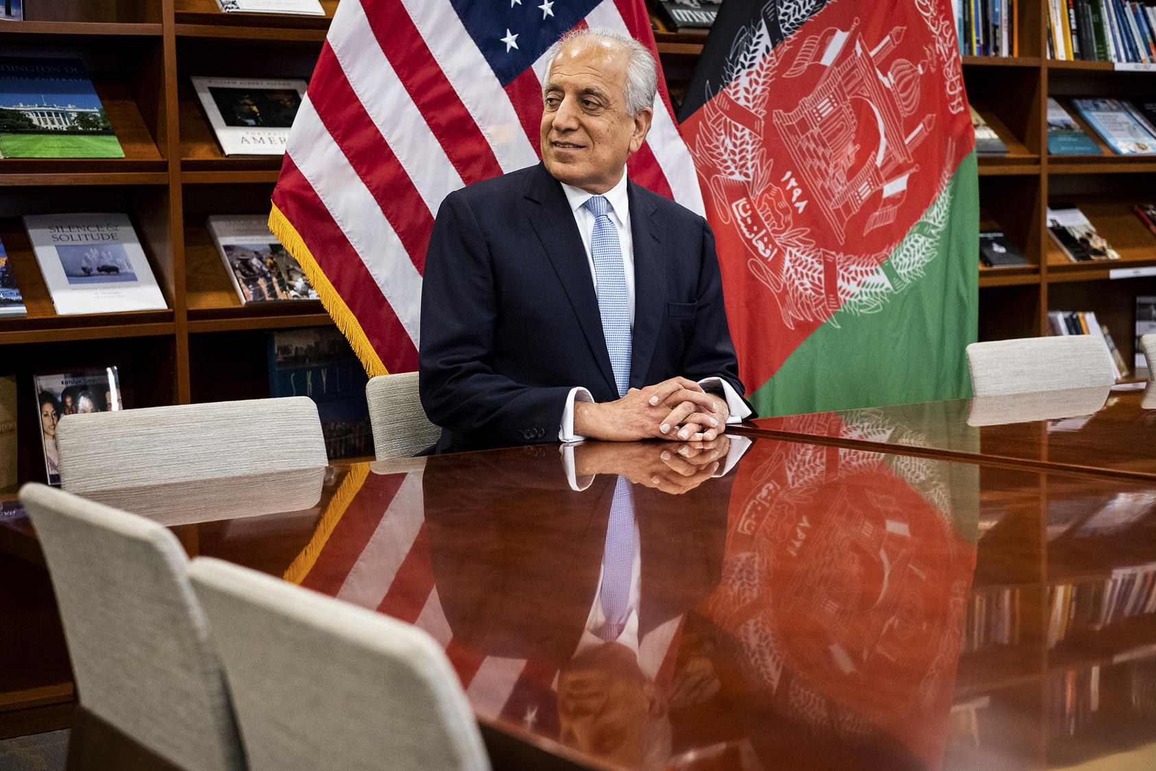 Zalmay Khalilzad, the special representative for Afghanistan reconciliation, at the United States Embassy in Kabul, Jan. 28, 2019. As American policy in Afghanistan seems bent more than ever on making a deal with Taliban insurgents to withdraw American troops from the country after nearly two decades of war, Khalilzad's diplomacy is taking priority. (Jim Huylebroek/The New York Times)