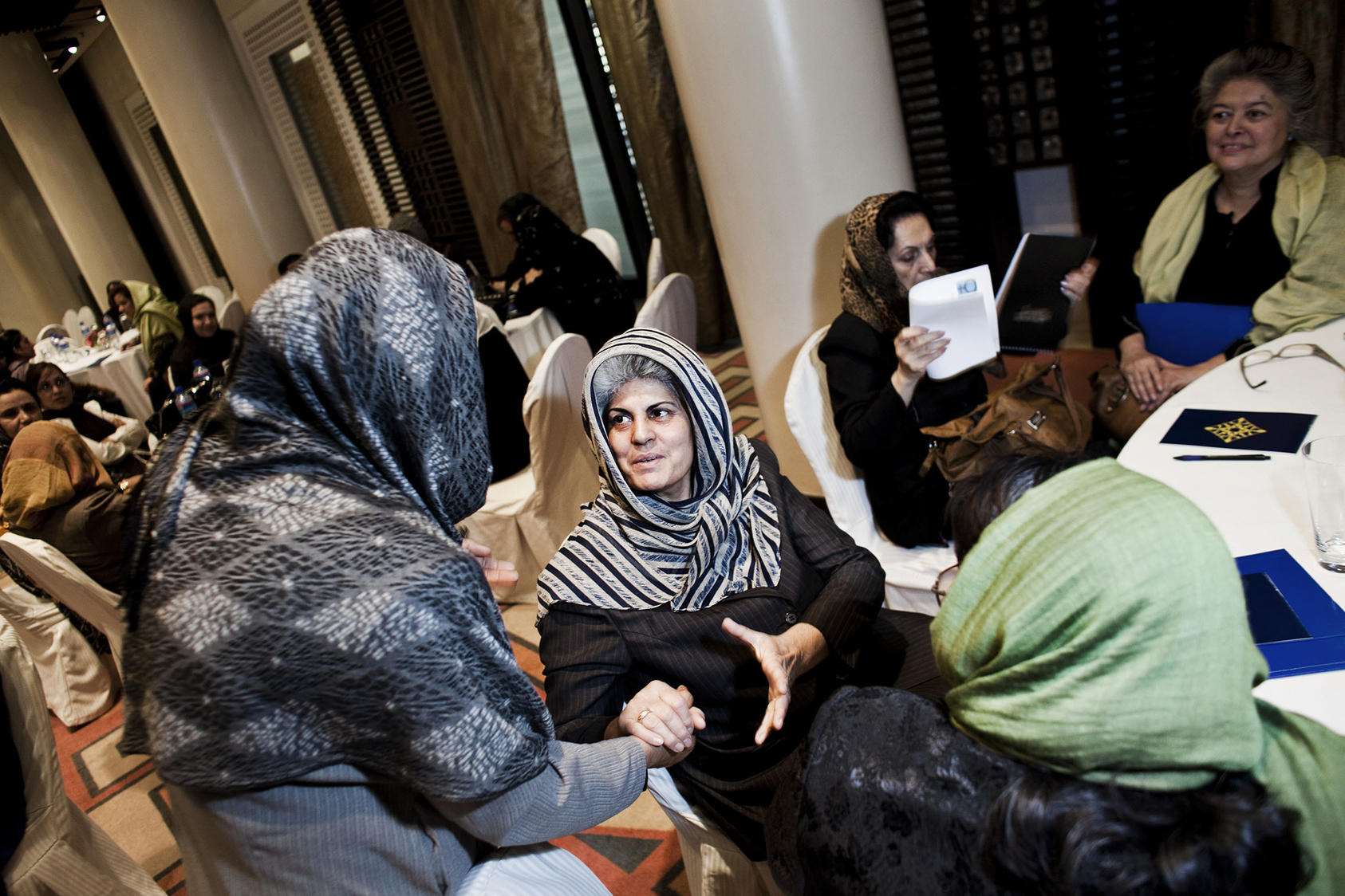 Afghan women's rights activists for years have warned leaders not to exclude women from an eventual peace process. Here they did so during a 2010 conference in Kabul. (Eros Hoagland/NY Times)