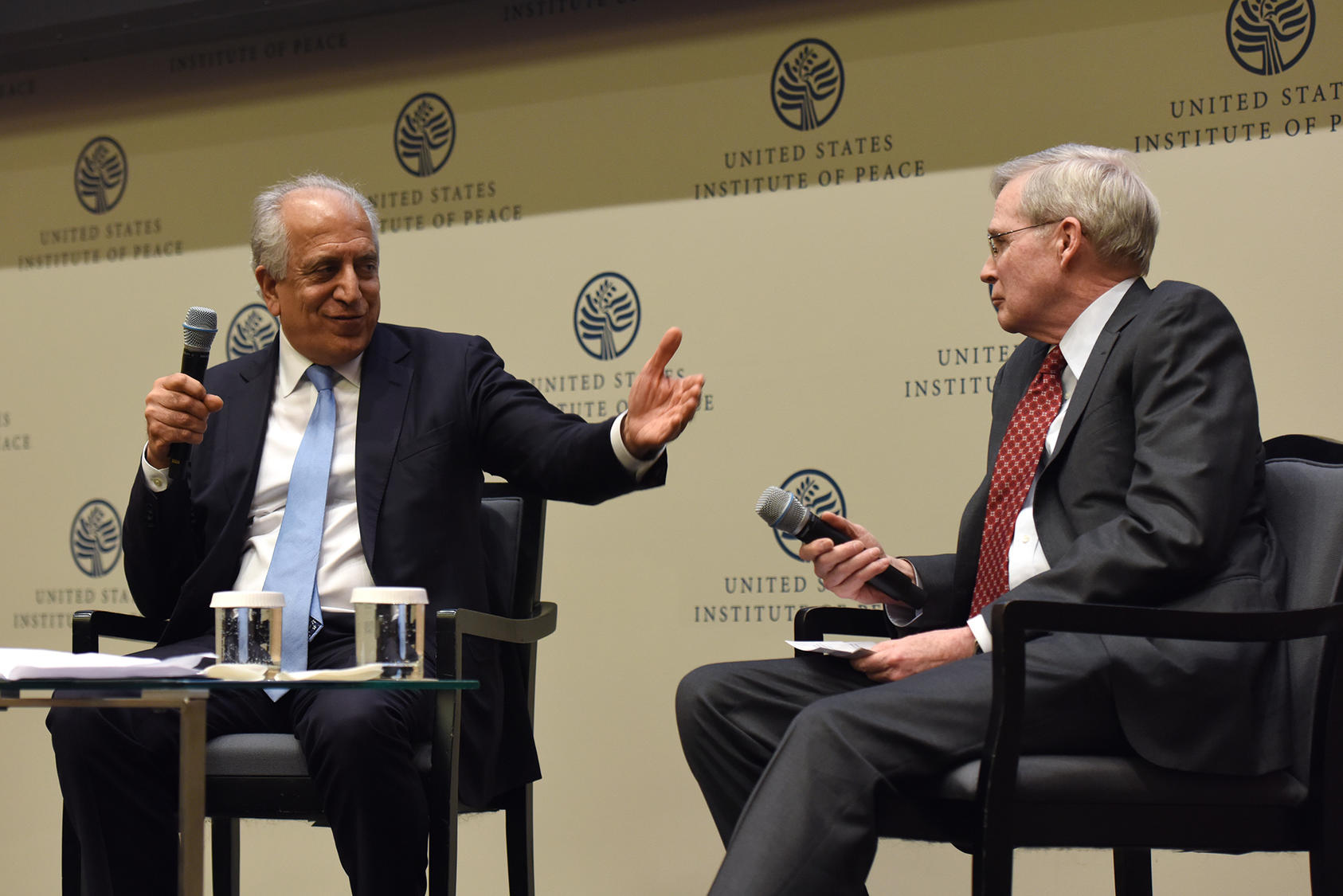 Special Representative for Afghanistan Reconciliation Zalmay Khalilzad speaks with Stephen J. Hadley, chair of USIP's Board of Directors.