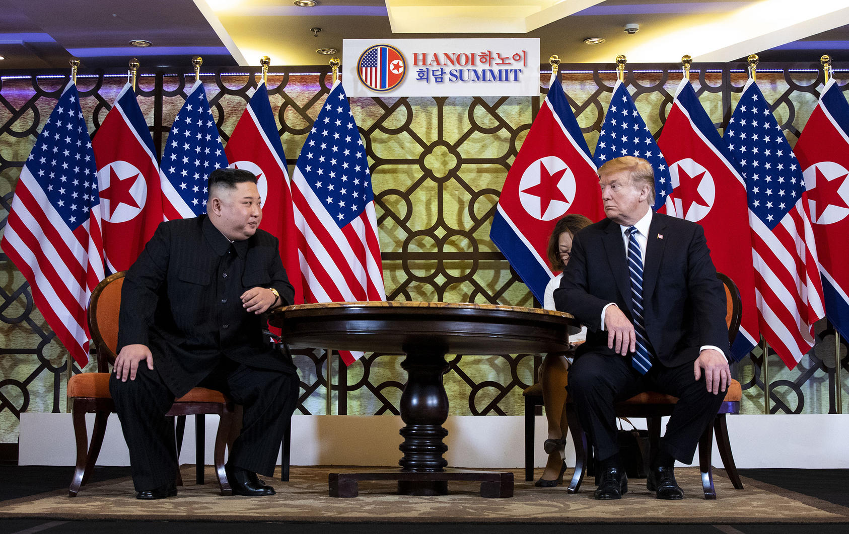 President Donald Trump and Kim Jong Un, the North Korean leader, meet at the Metropole Hotel in Hanoi, Vietnam, Feb. 28, 2019. (Doug Mills/The New York Times)
