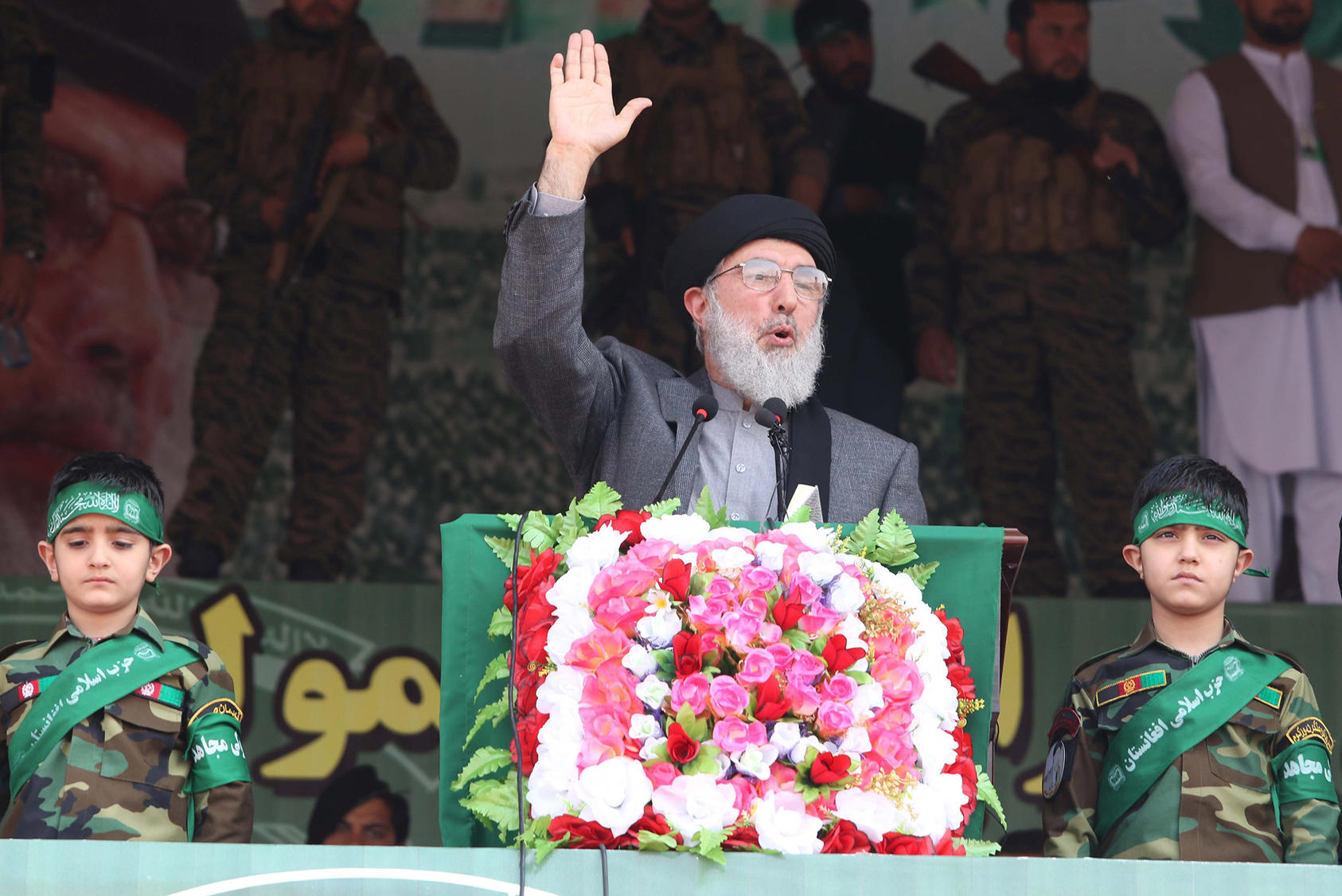 Gulbuddin Hekmatyar addresses supporters in Jalalabad, Afghanistan, in March 2018. (Photo by Ghulamullah Habibi/ EPA-EFE/ Shutterstock)