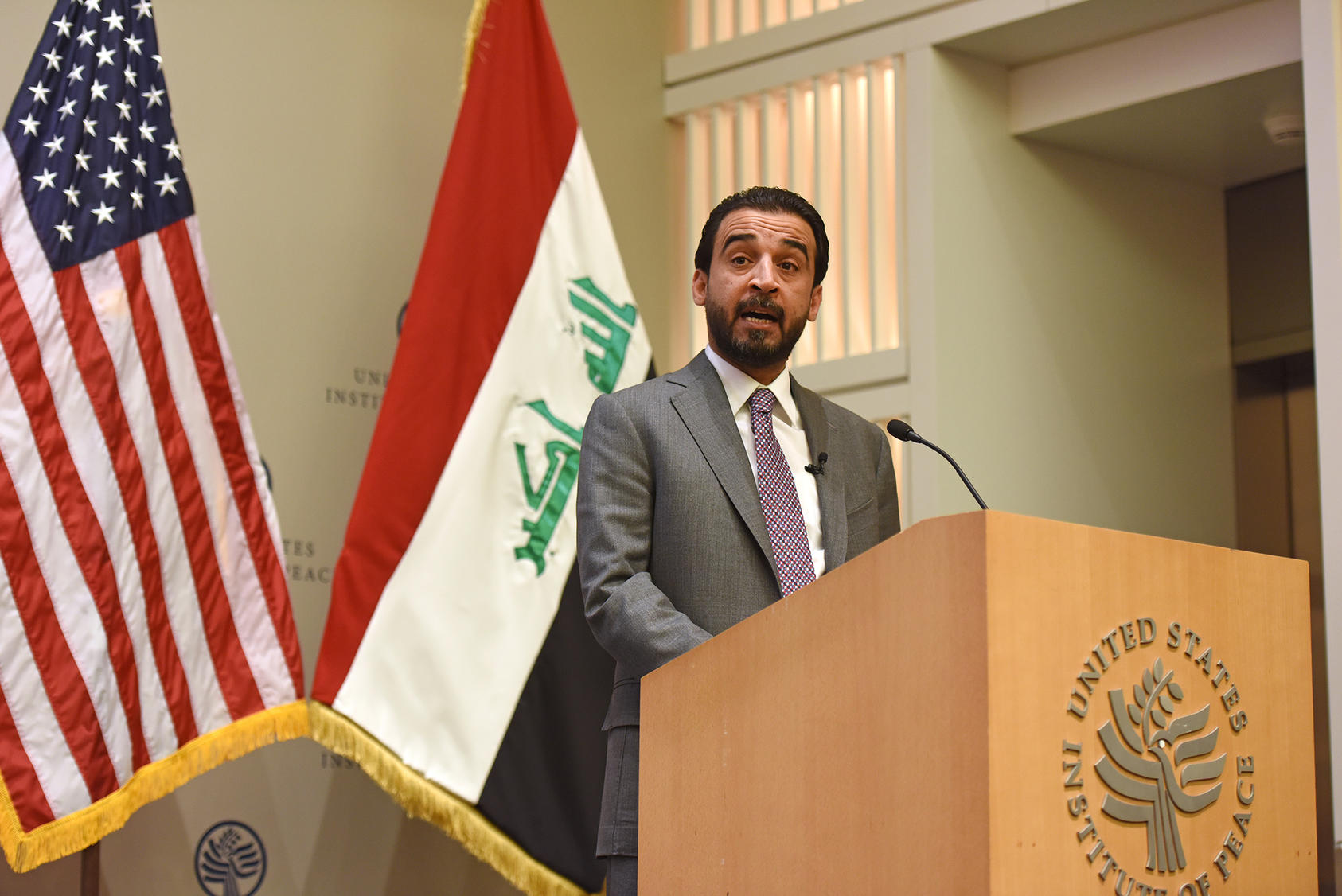Iraqi Parliament Speaker Mohamed al-Halbousi speaks at a public event at USIP, March 29, 2019.